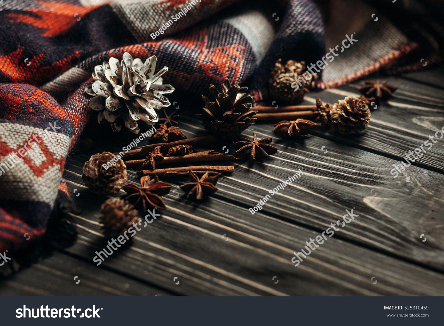 Stylish Winter Or Autumn Wallpaper Anise Cinnamon And Pine Cones On Wooden Rustic Background