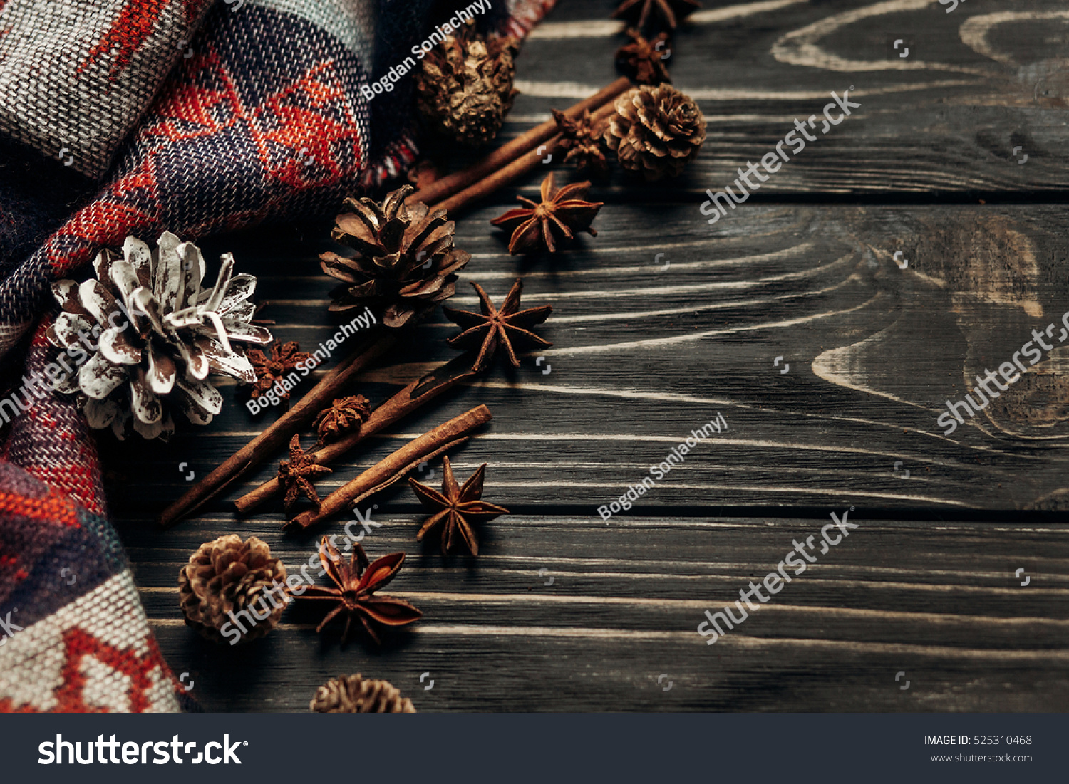 Stylish Rustic Winter Or Autumn Wallpaper With Anise Cinnamon And Pine Cones On Wooden Background