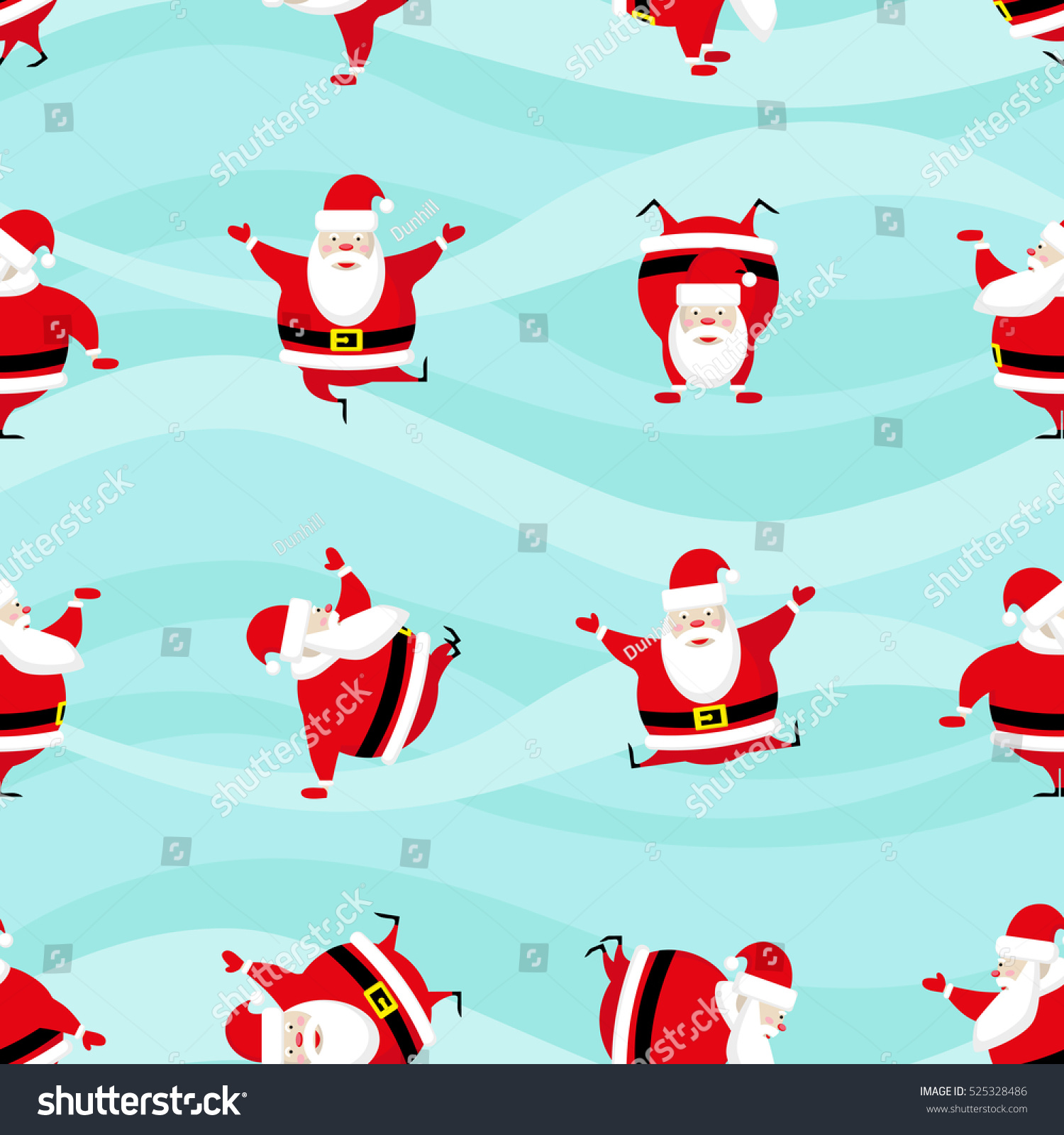 Seamless Happy New Year And Merry Christmas Background Dancing Funny Santa Claus In Different Poses