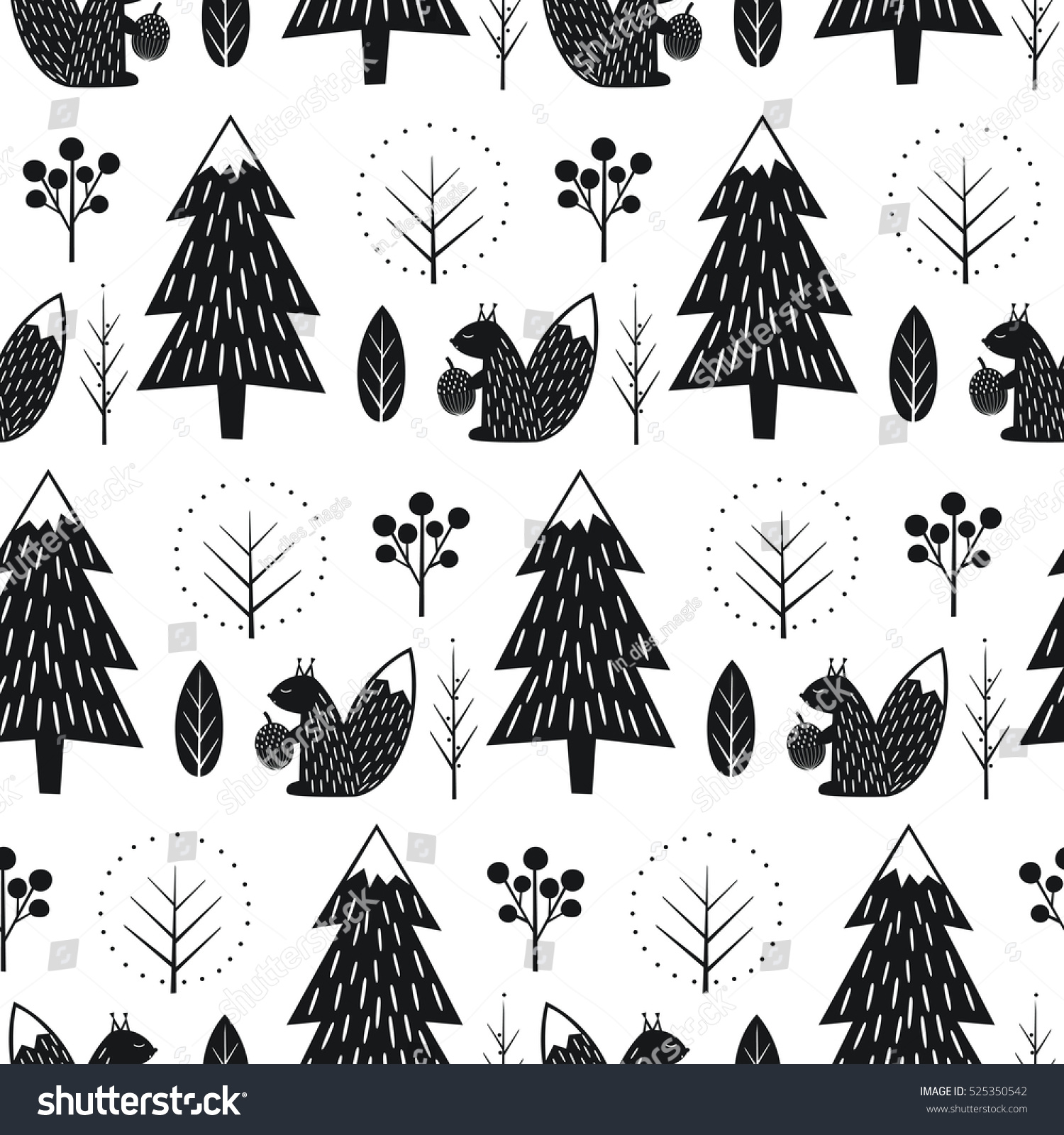 Seamless fir tree scandinavian pattern textile background wrapping - Squirrel In Forest Seamless Pattern Black And White Scandinavian Style Nature Illustration Cute Winter