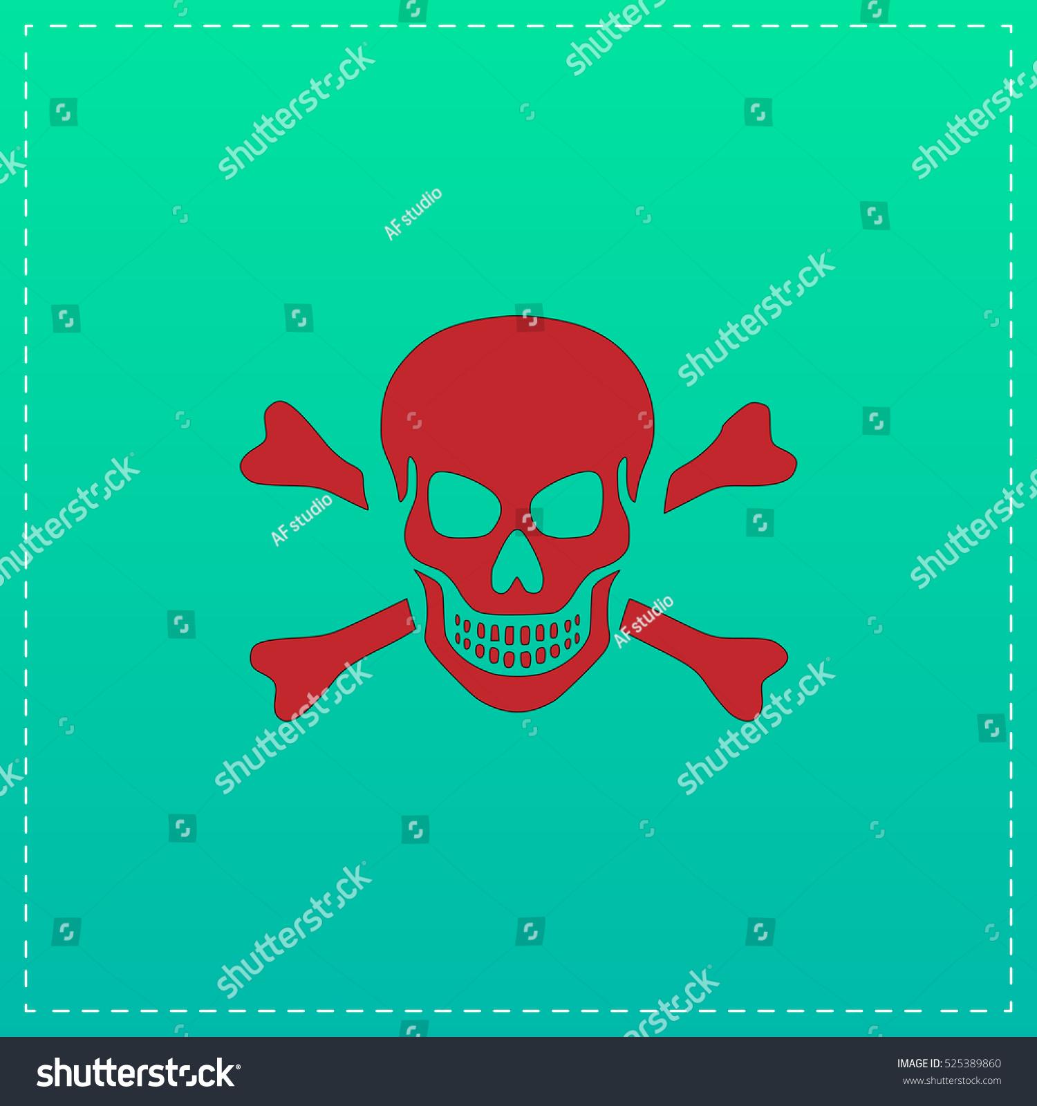 Skull And Crossbones Red Flat Icon Vector Illustration Symbol Ez