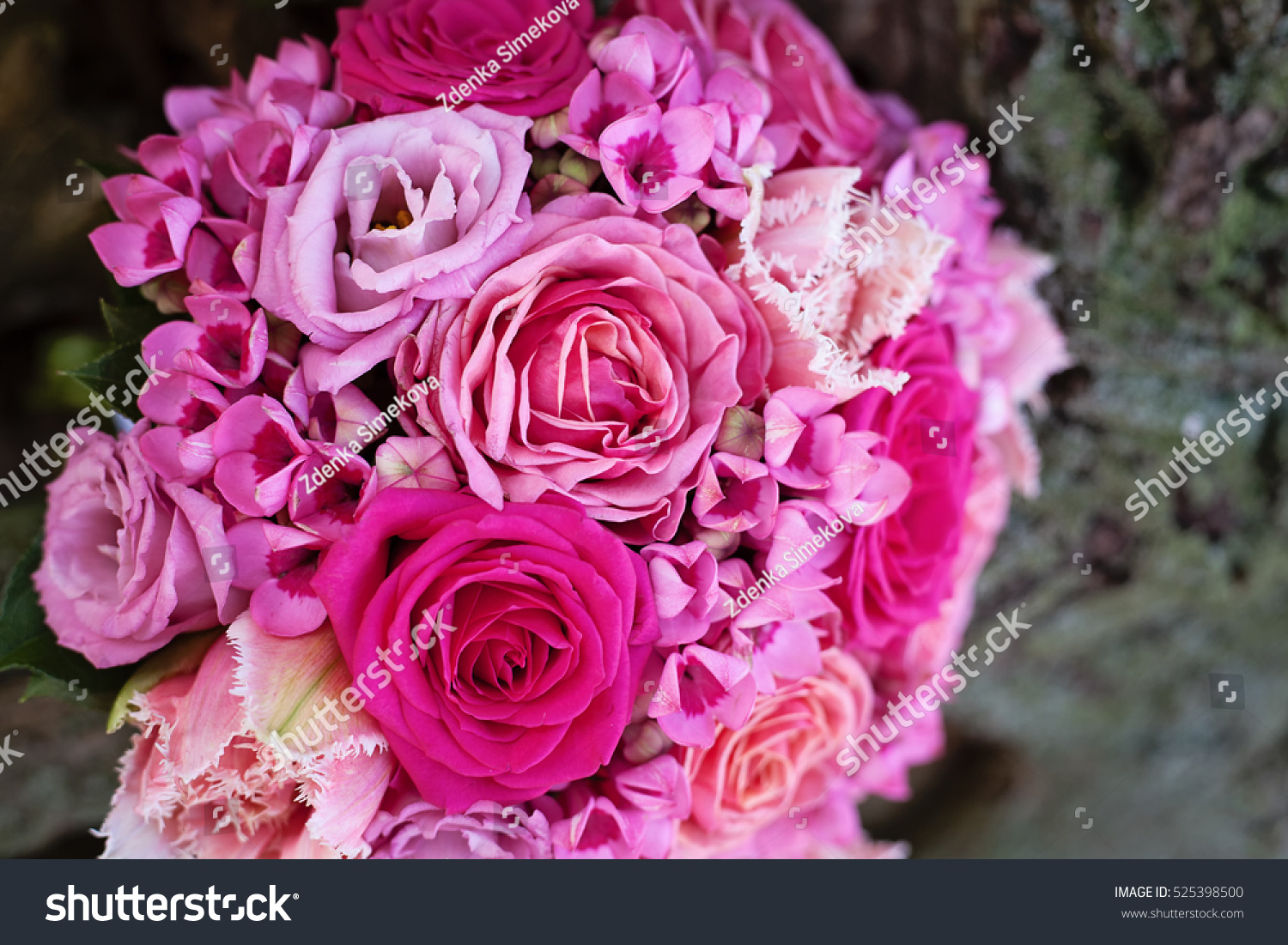 Pink Wedding Bouquet On A Bark Of Tree Shades Of Pink Ez Canvas