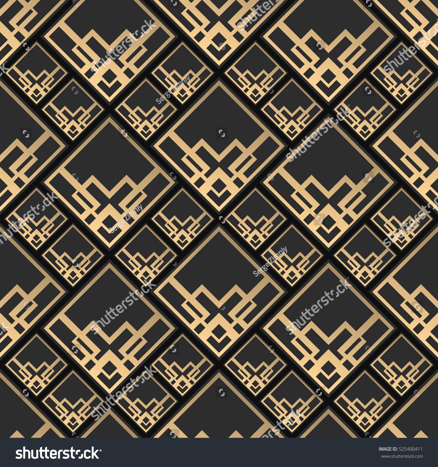 Seamless pattern art deco style black stock vector 525400411 seamless pattern in art deco style black and golden tilework 3d effect ceramic tiles dailygadgetfo Images
