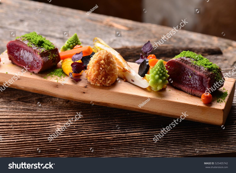 Fine Dining Venison Meat Steak Vegetable Stock Photo ...