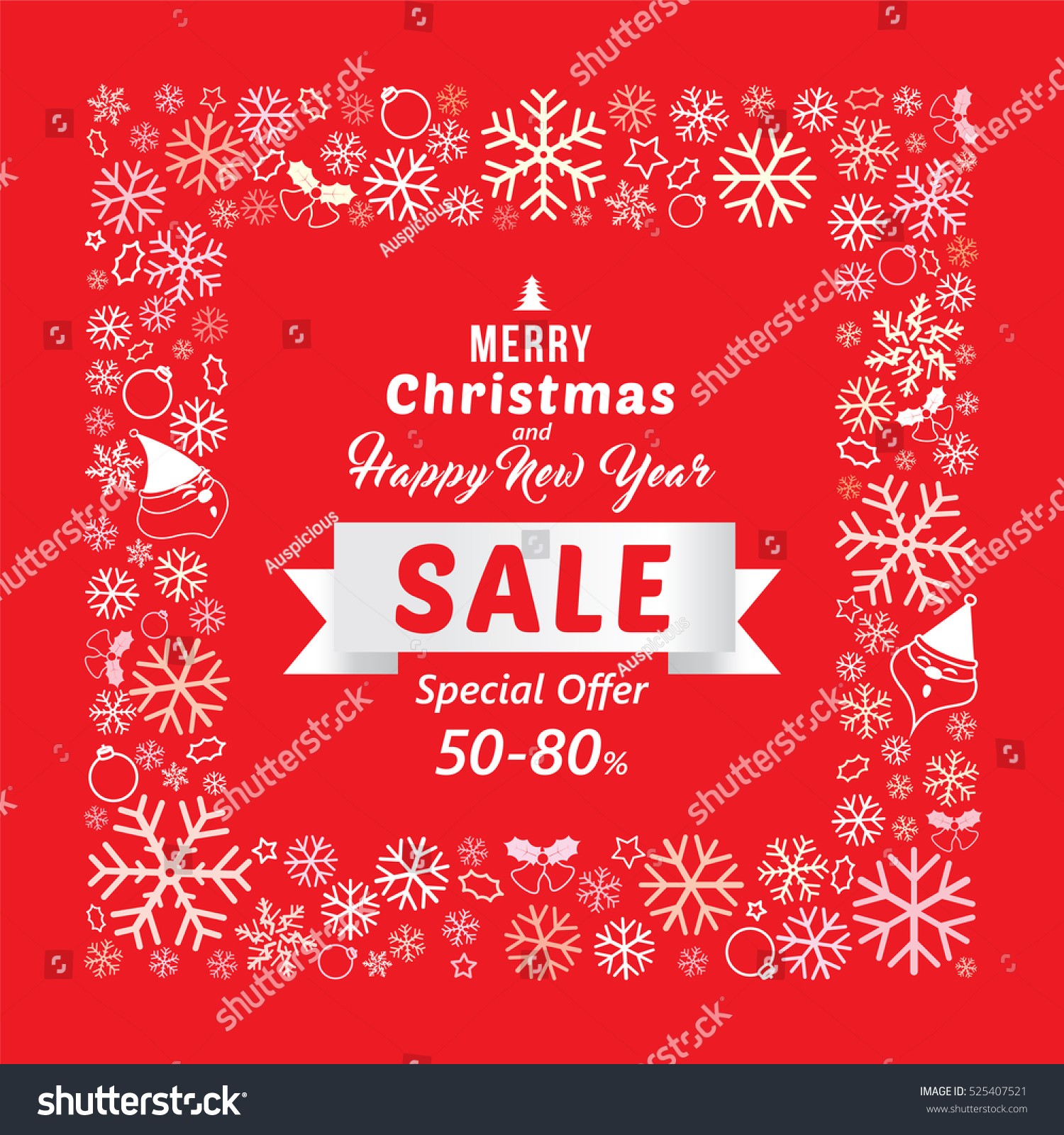christmas and new year sale banner template design with discount 50 80