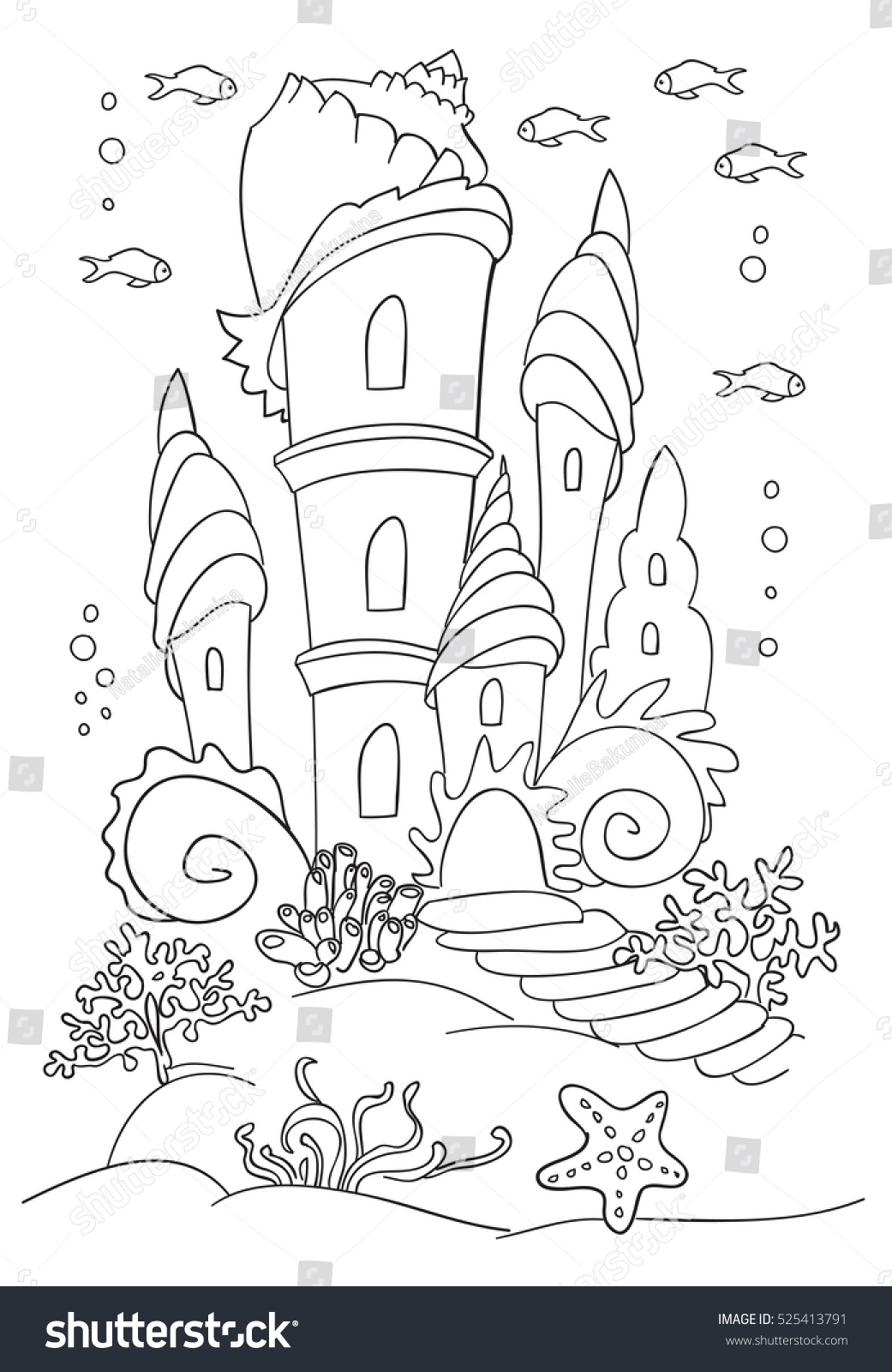 Mermaid S Castle At Ocean Bottom Coloring Book Page Black And Wight Doodle