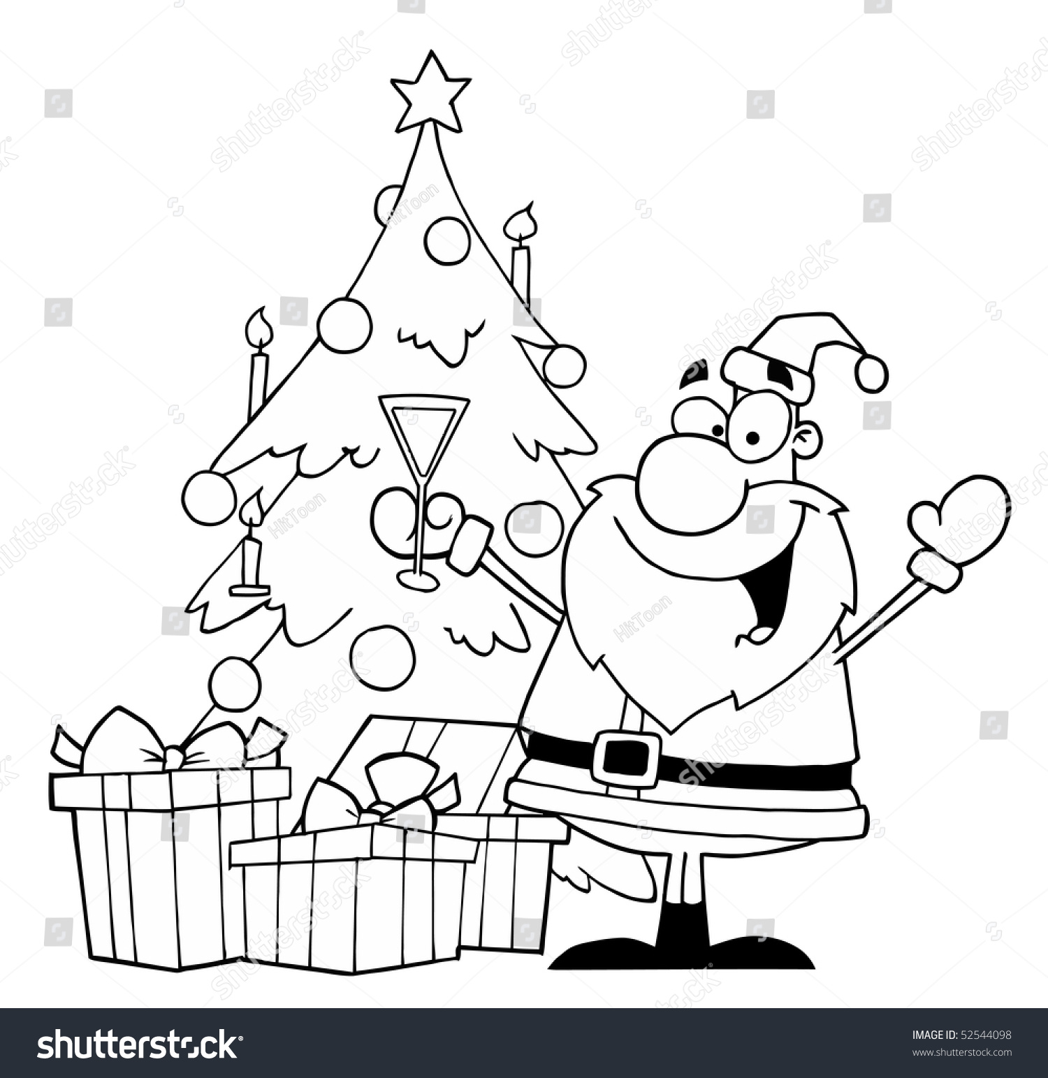 Black White Coloring Page Outline Santa Stock Vector (Royalty Free ...