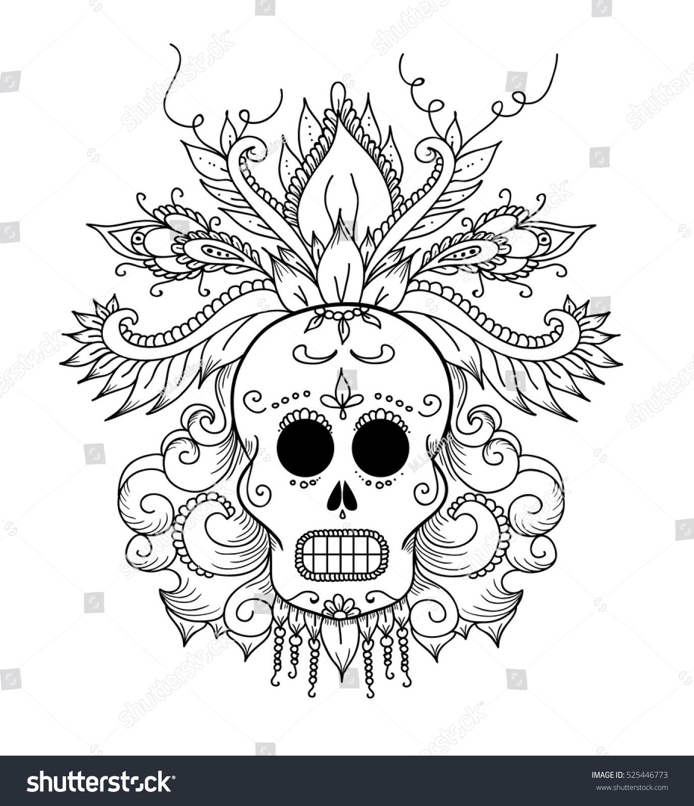 Dia De Los Muertos Colouring Book Stock Vector 525446773 - Shutterstock