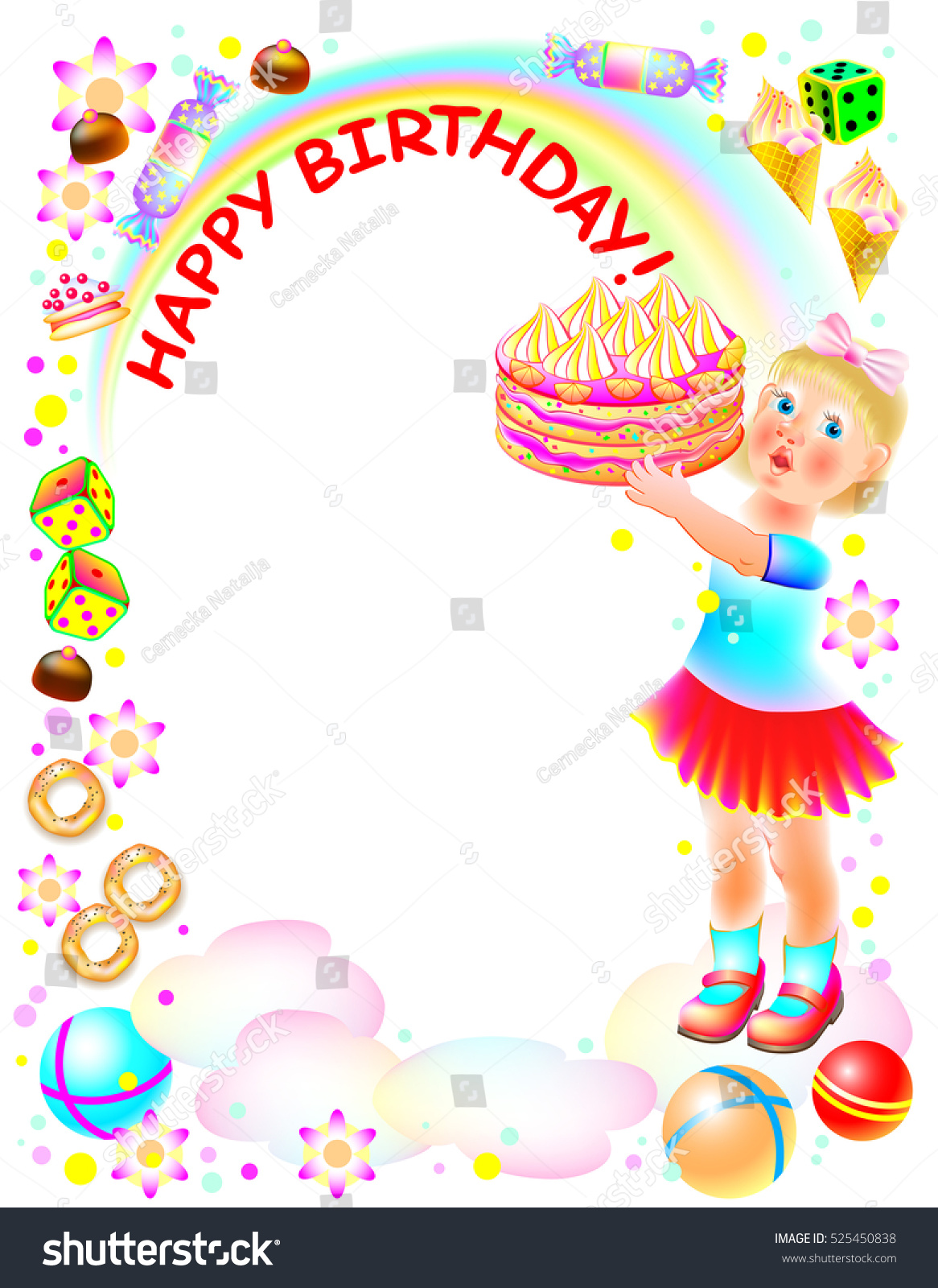 Birthday greeting card little girl holding stock vector 525450838 birthday greeting card with little girl holding a cake vector cartoon image kristyandbryce Image collections