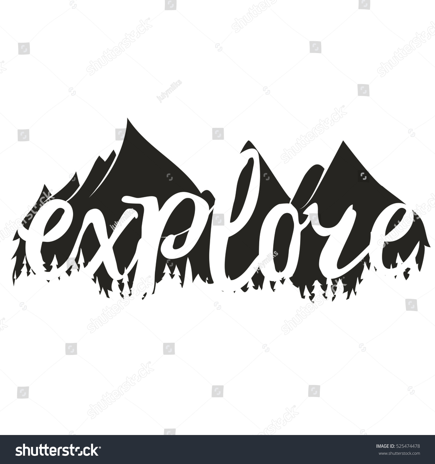 Vector Illustration Word Explore Hand Drawn Stock Vector