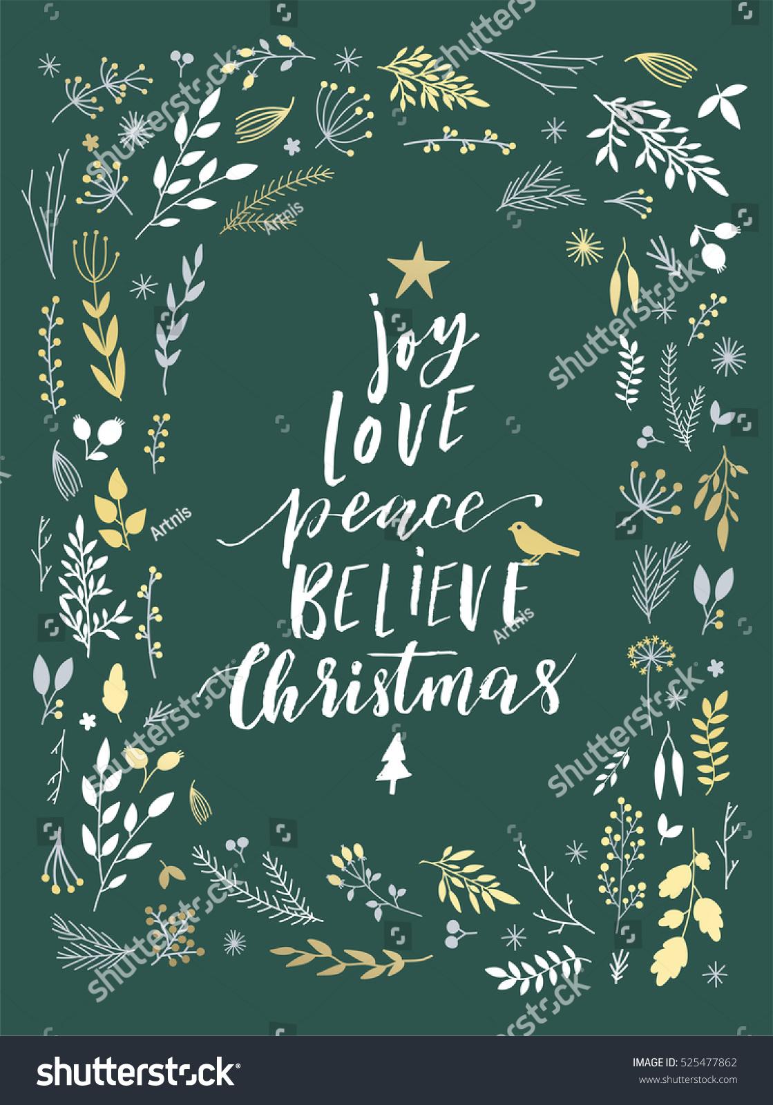Joy Love Peace Believe Lettering Merry Stock Vector (Royalty Free ...