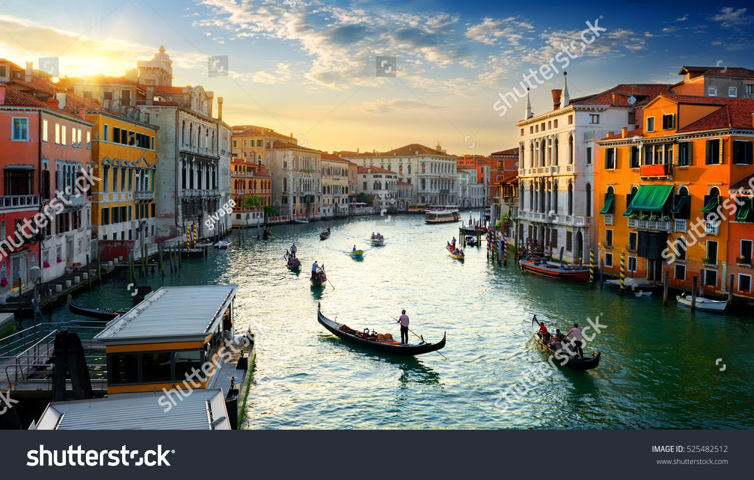 Grand Canal in Venice at the sunset, Italy. #525482512