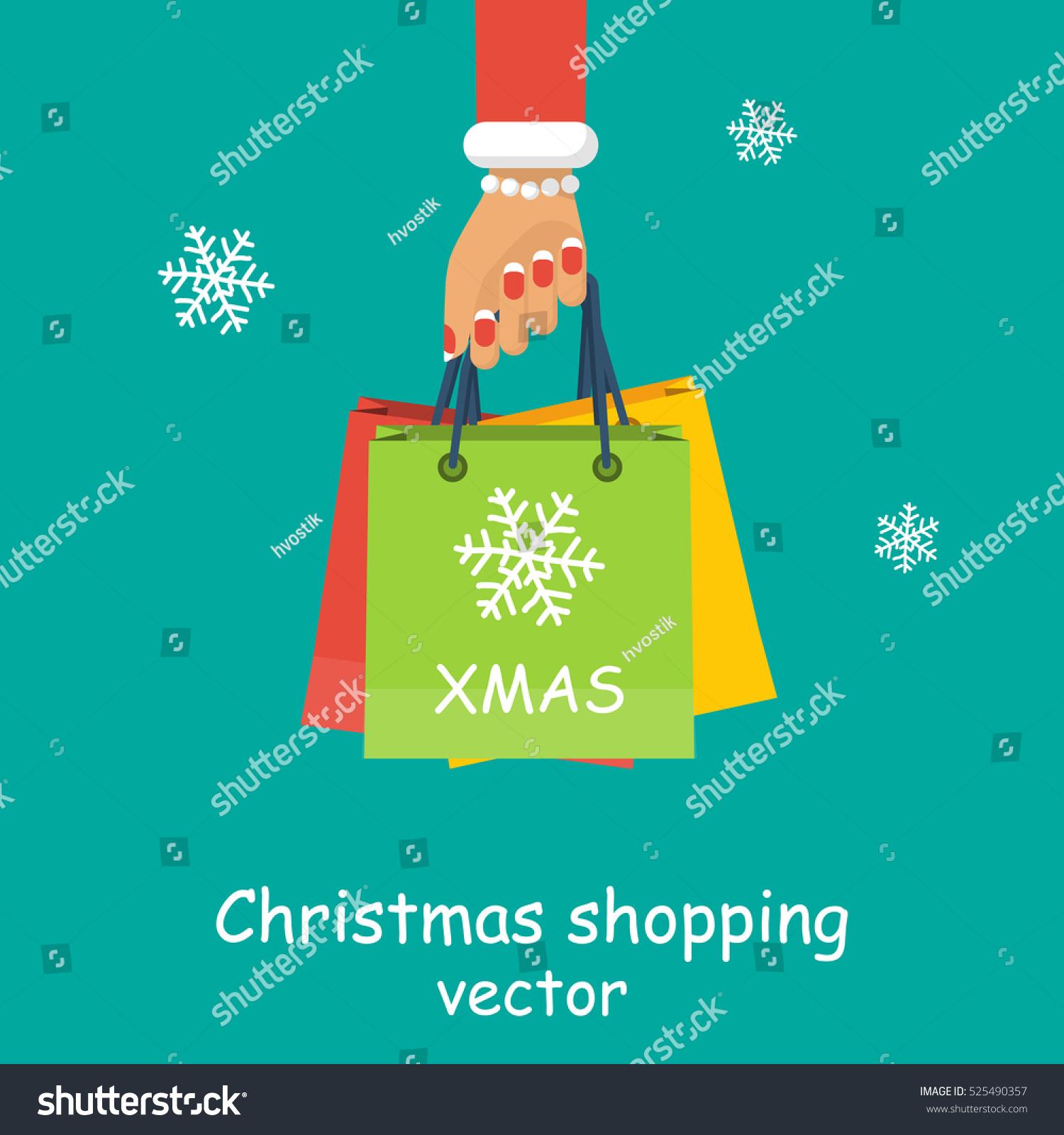 Christmas Shopping Girl Woman Hold Hand Stock Vector (Royalty Free ...