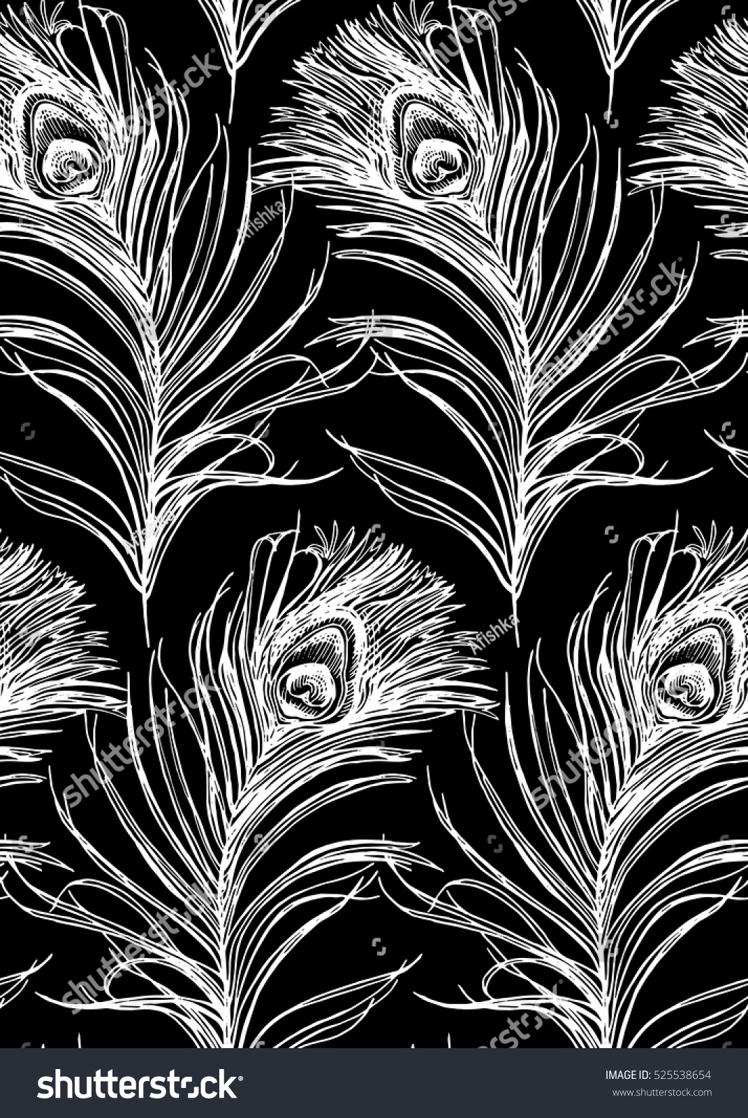Seamless Pattern Image Peacock Feather Vector Stock Vector ...