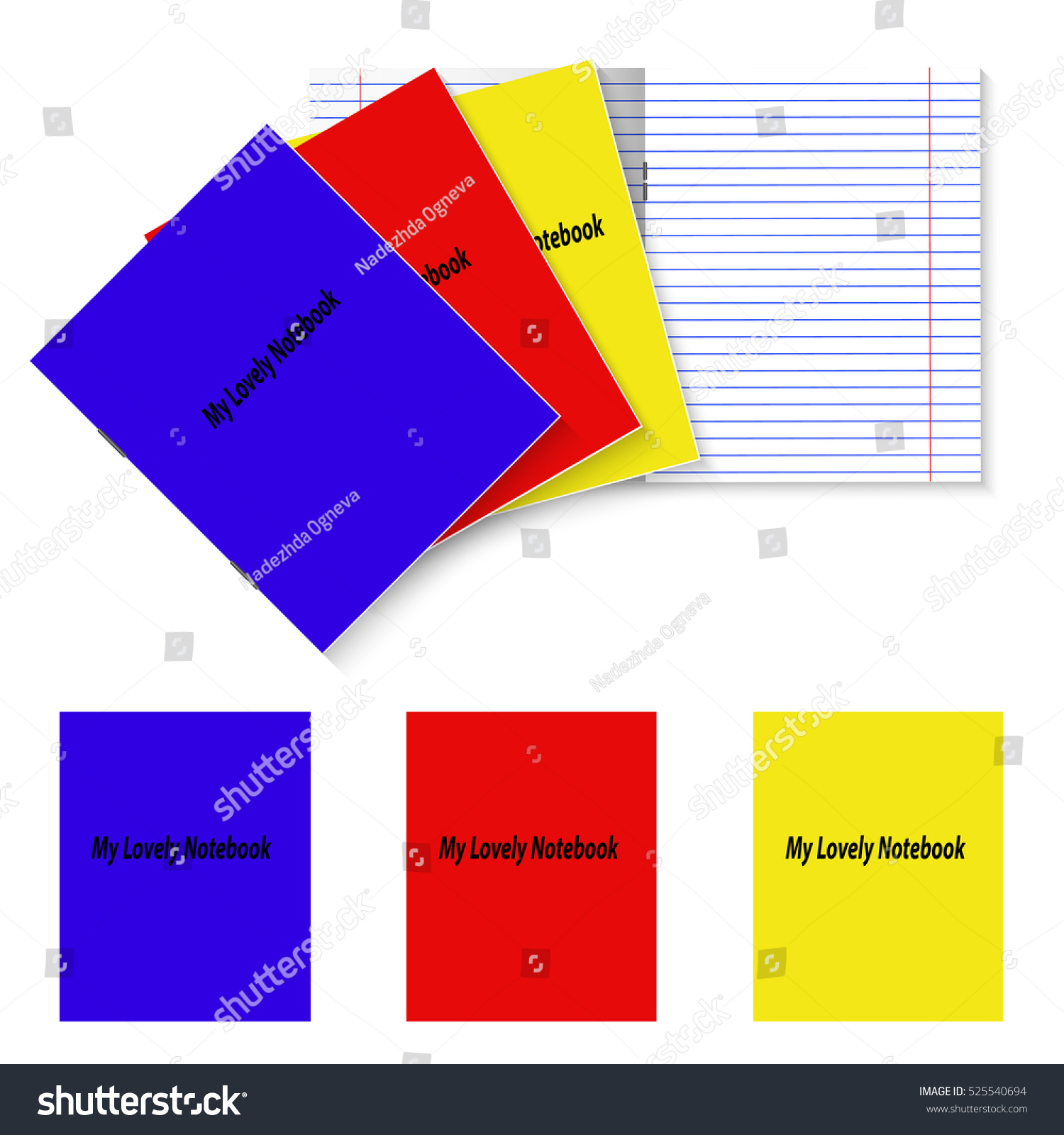 Three Student Books Template Color Covers Stock Vector Royalty Free