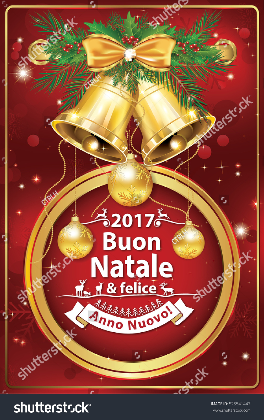 Italian Seasons Greetings Winter Holiday Greeting Stock Illustration
