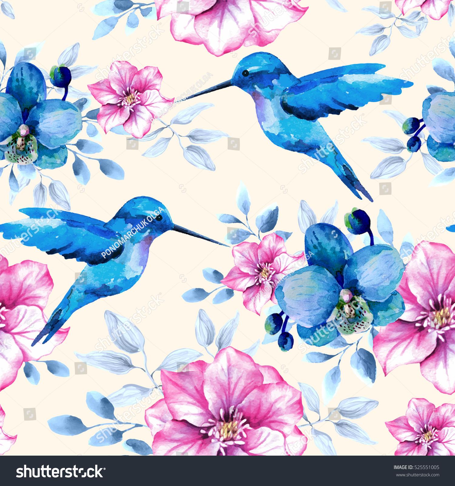 Flower Pattern Blue Pink Flowers Hummingbirds Stock Illustration