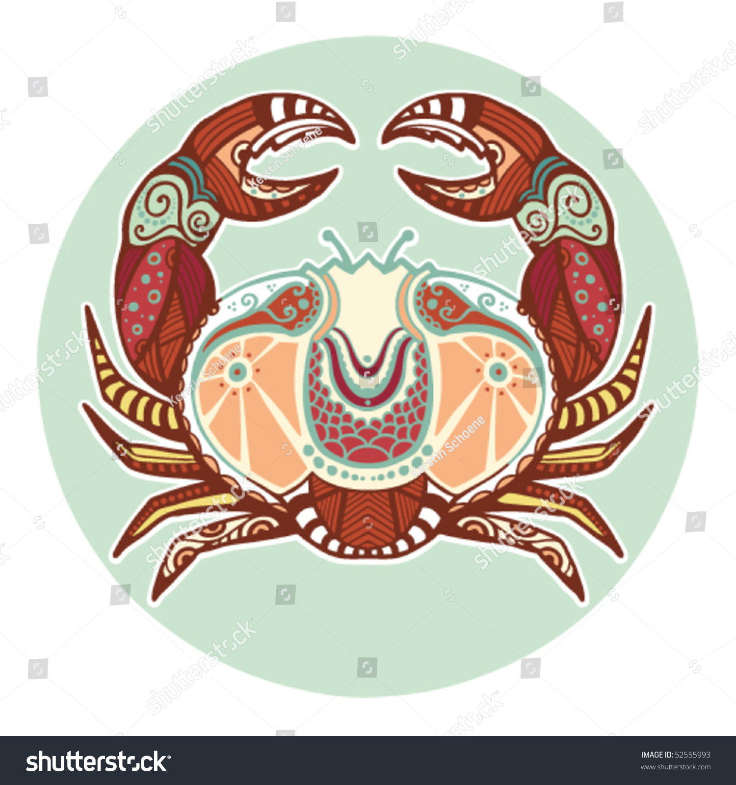 Zodiac Signs - Cancer (Colored) Stock Vector Illustration ...