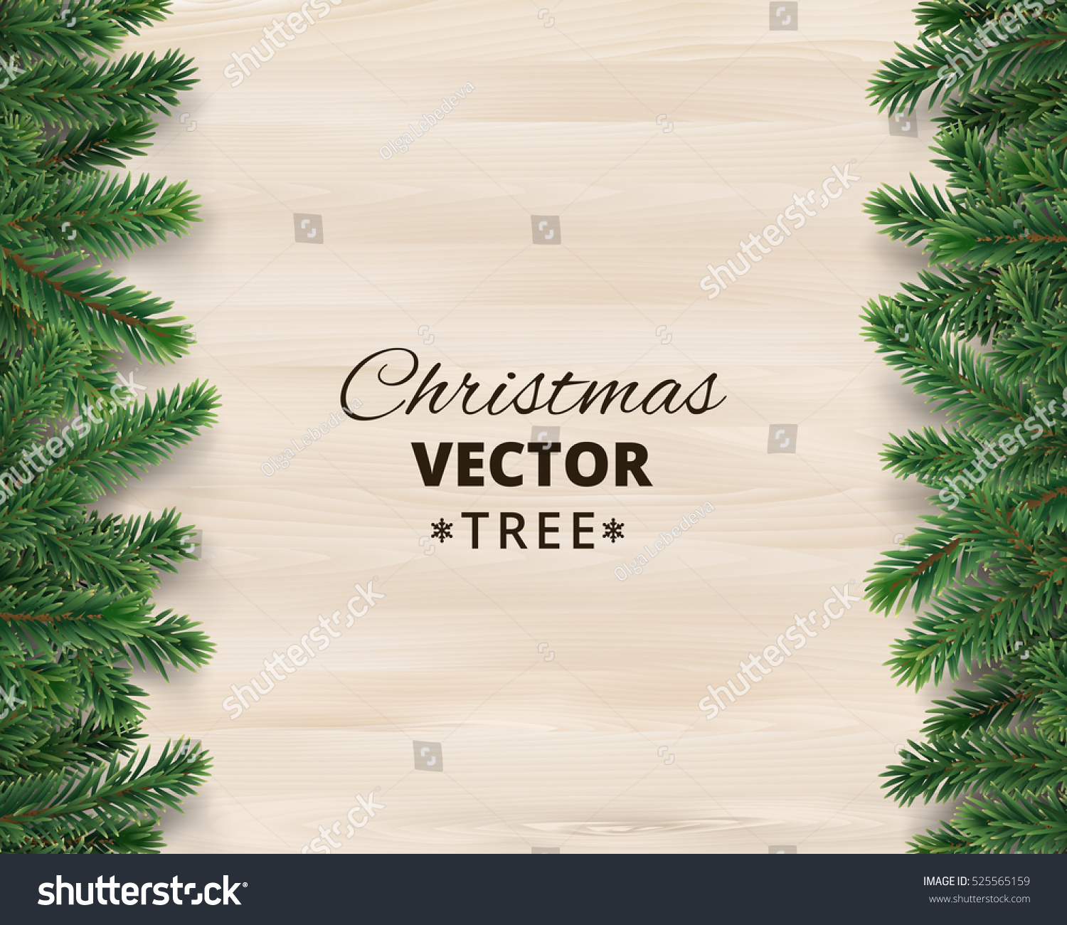 Christmas Tree Branches On Wooden Background Vector Illustration Realistic Fir Border