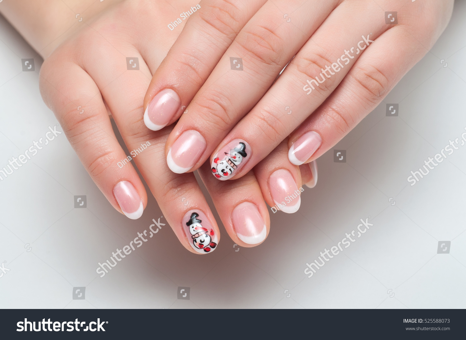New Years French White Manicure Painted Stock Photo & Image (Royalty ...
