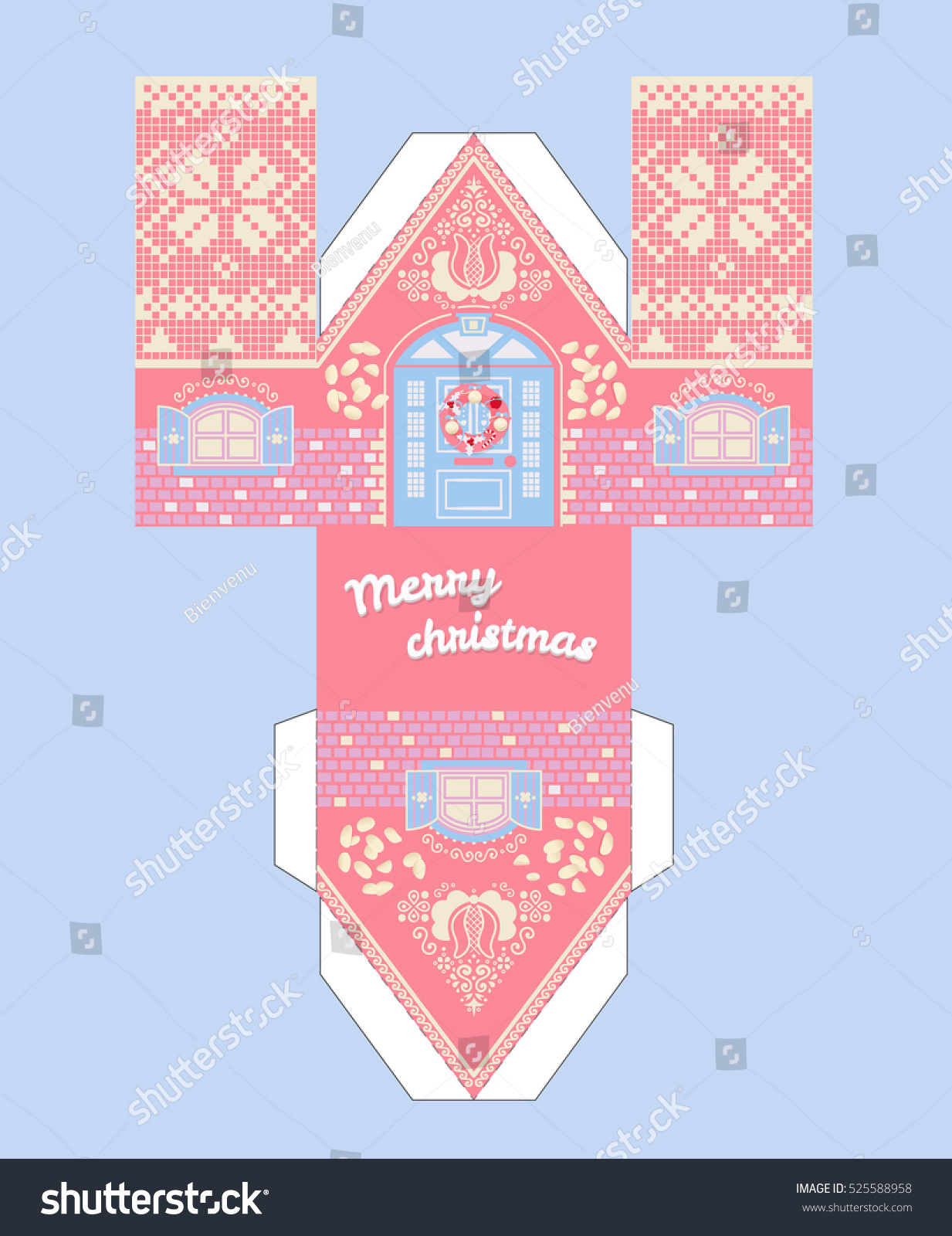 gingerbread house template 3d  Vector Pink Gingerbread House Template Cute Stock Vector ...