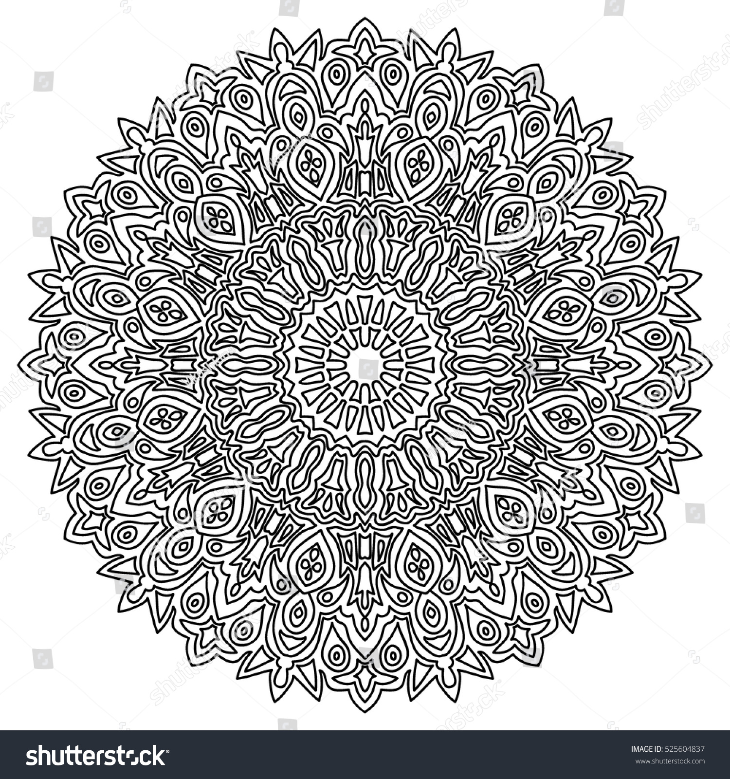 Adult Coloring Book Page Black White Stock Vector 525604837
