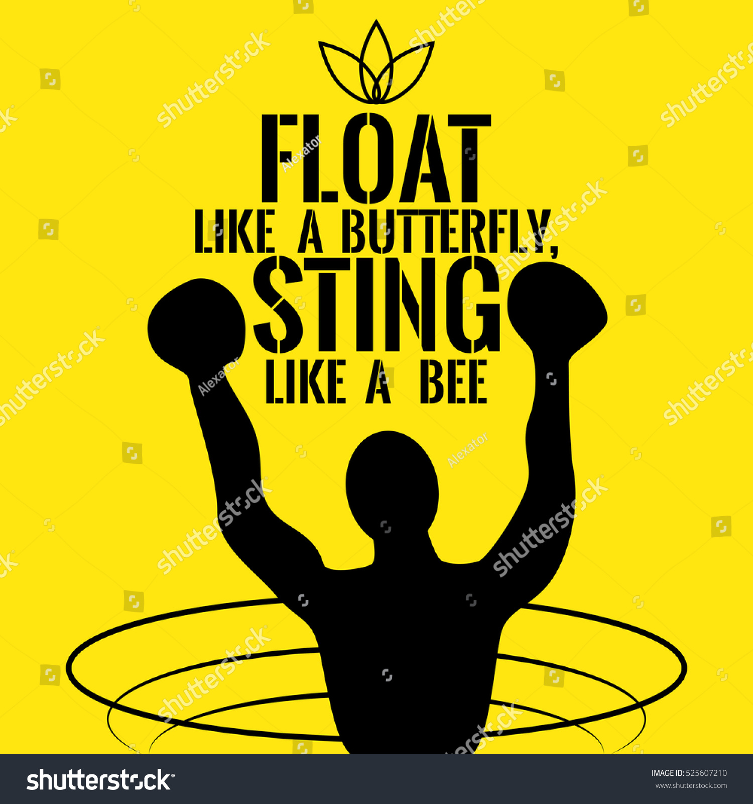 Motivational Quote Success Float Like Butterfly Stock Vector