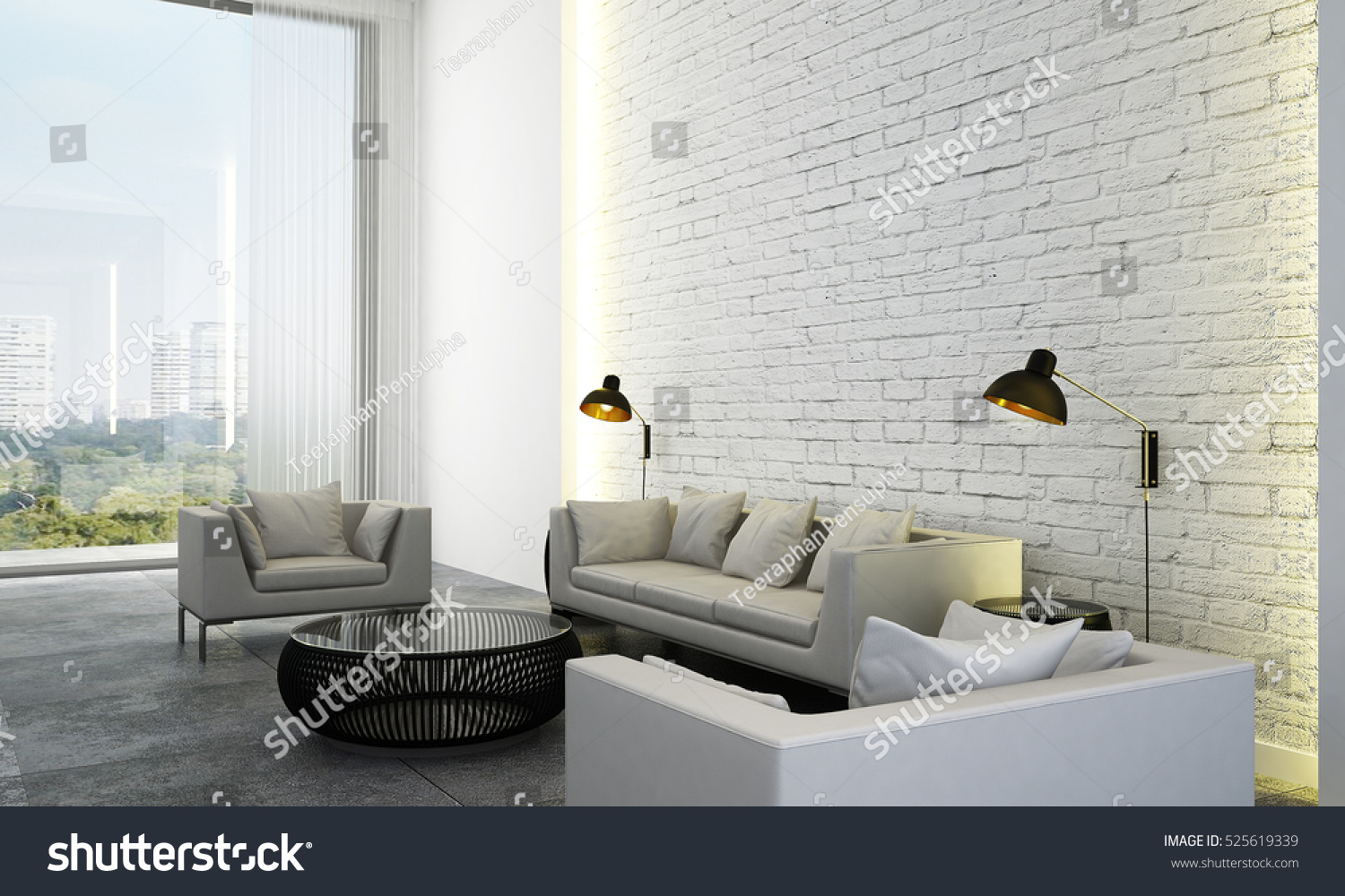 3 D Rendering Luxury Living Room Design Stock Illustration 525619339 ...