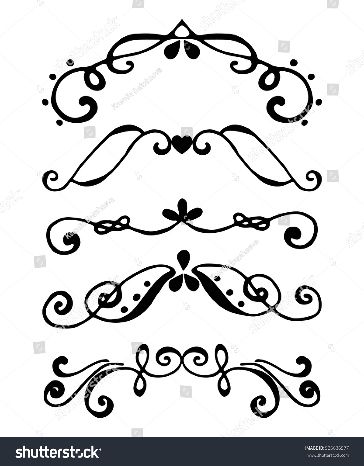 Set Borders Flourish Decorative Border Vintage Stock Vector ...