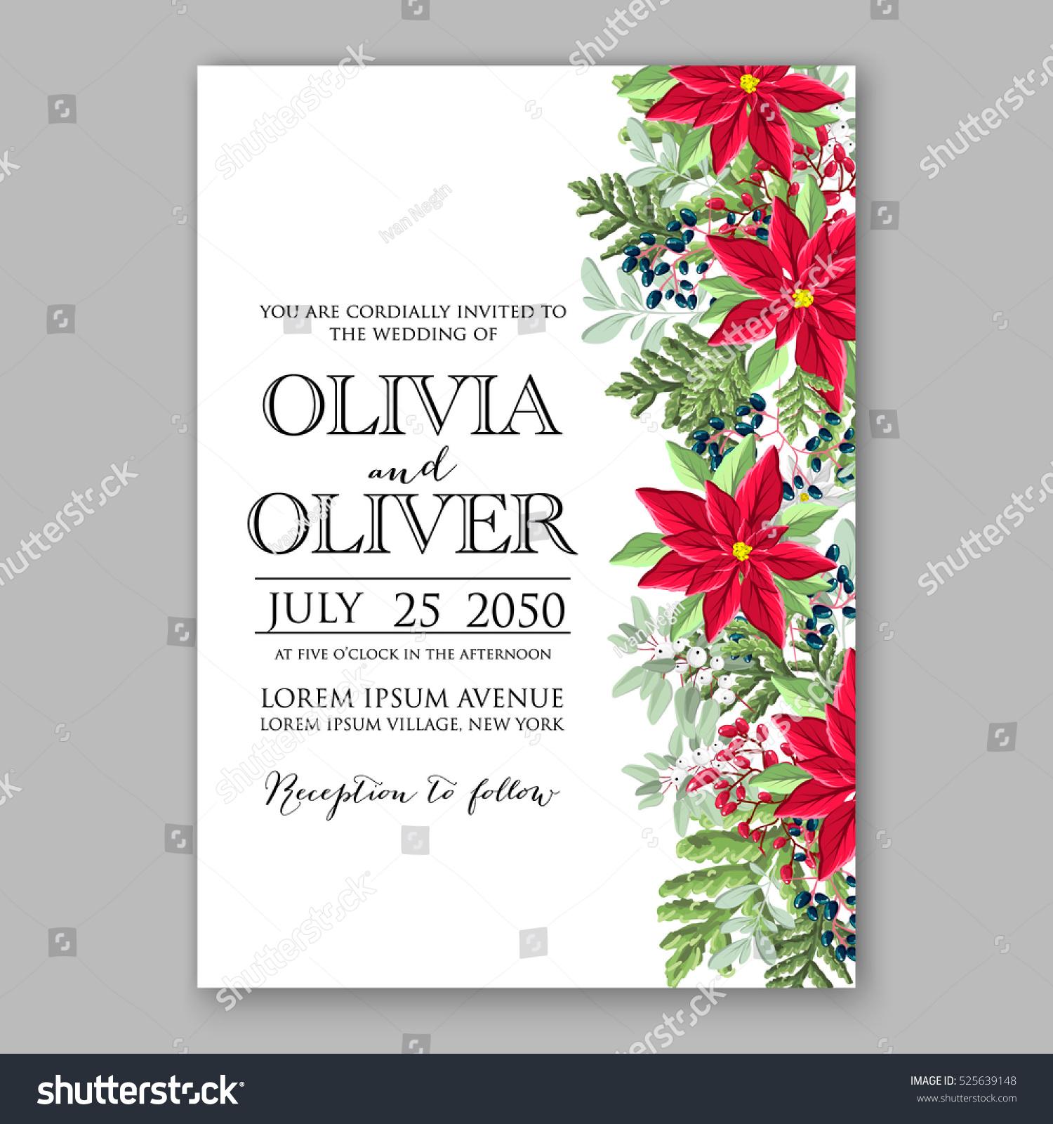 poinsettia winter wedding invitation template card stock vector