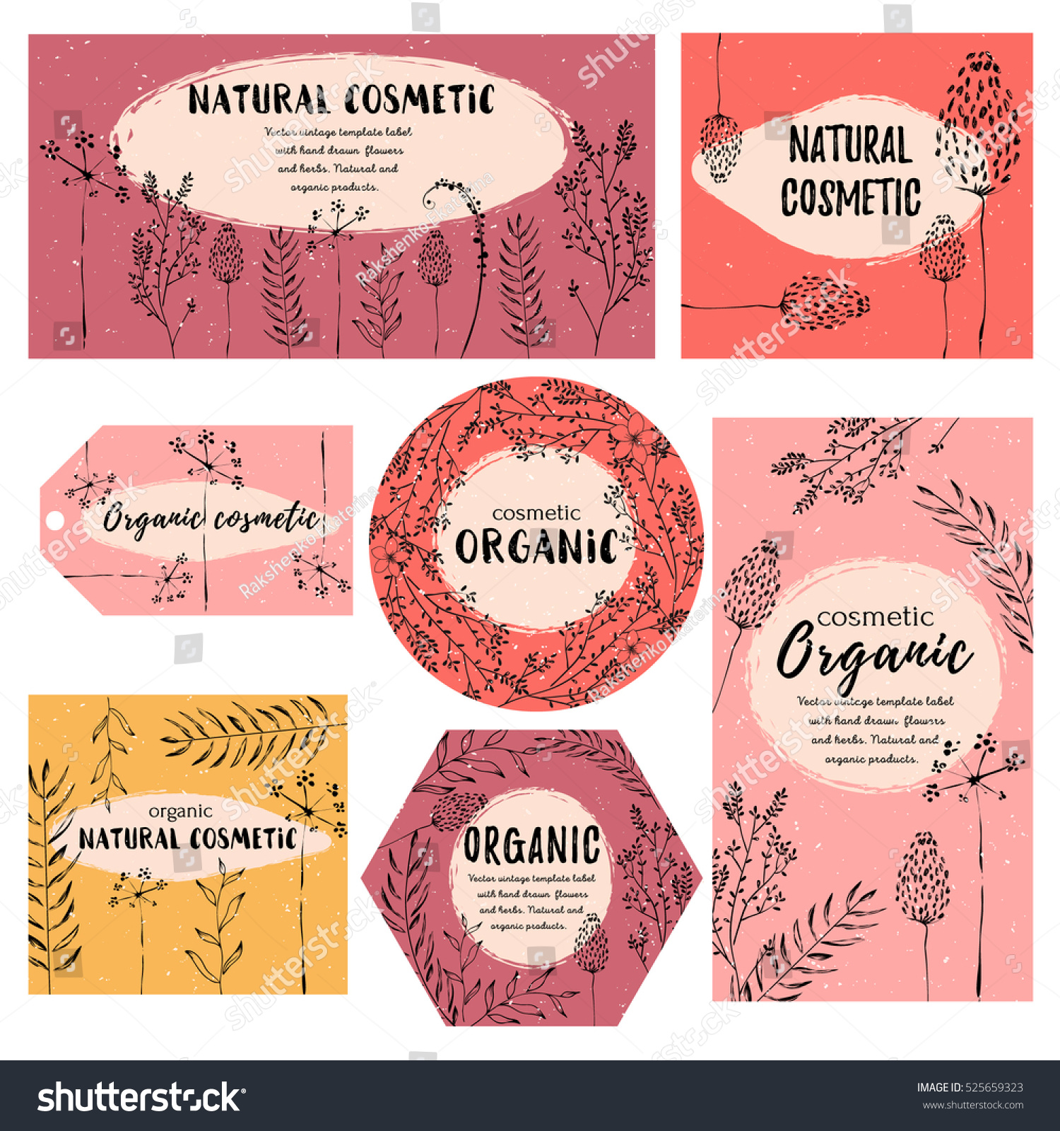 Vector Vintage Template Label Handdraw Flowers Stock Vector ...