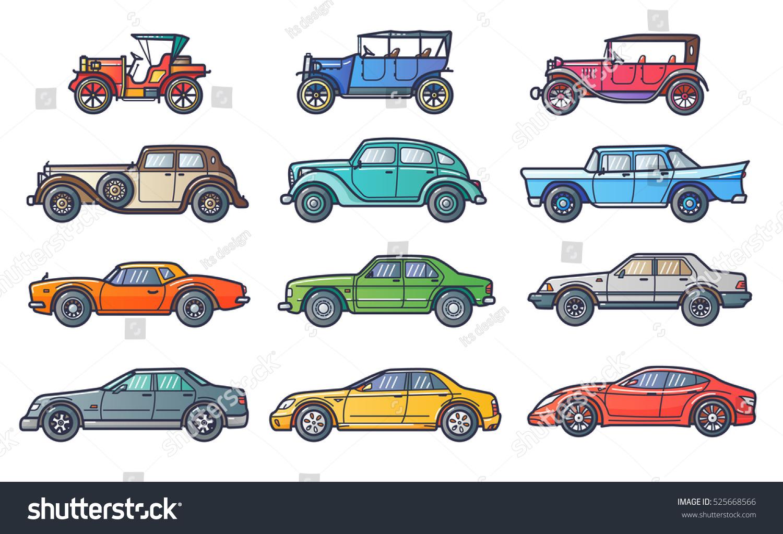 Car History Illustration Flat Line Trendy Stock Vector HD (Royalty ...