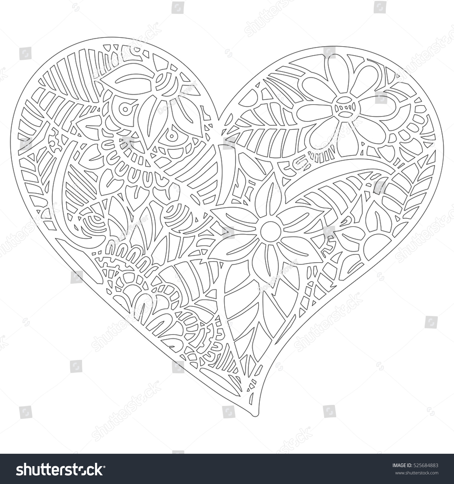 Pattern Coloring Book Leaves Ethnic Floral Stock Vector 525684883 ...