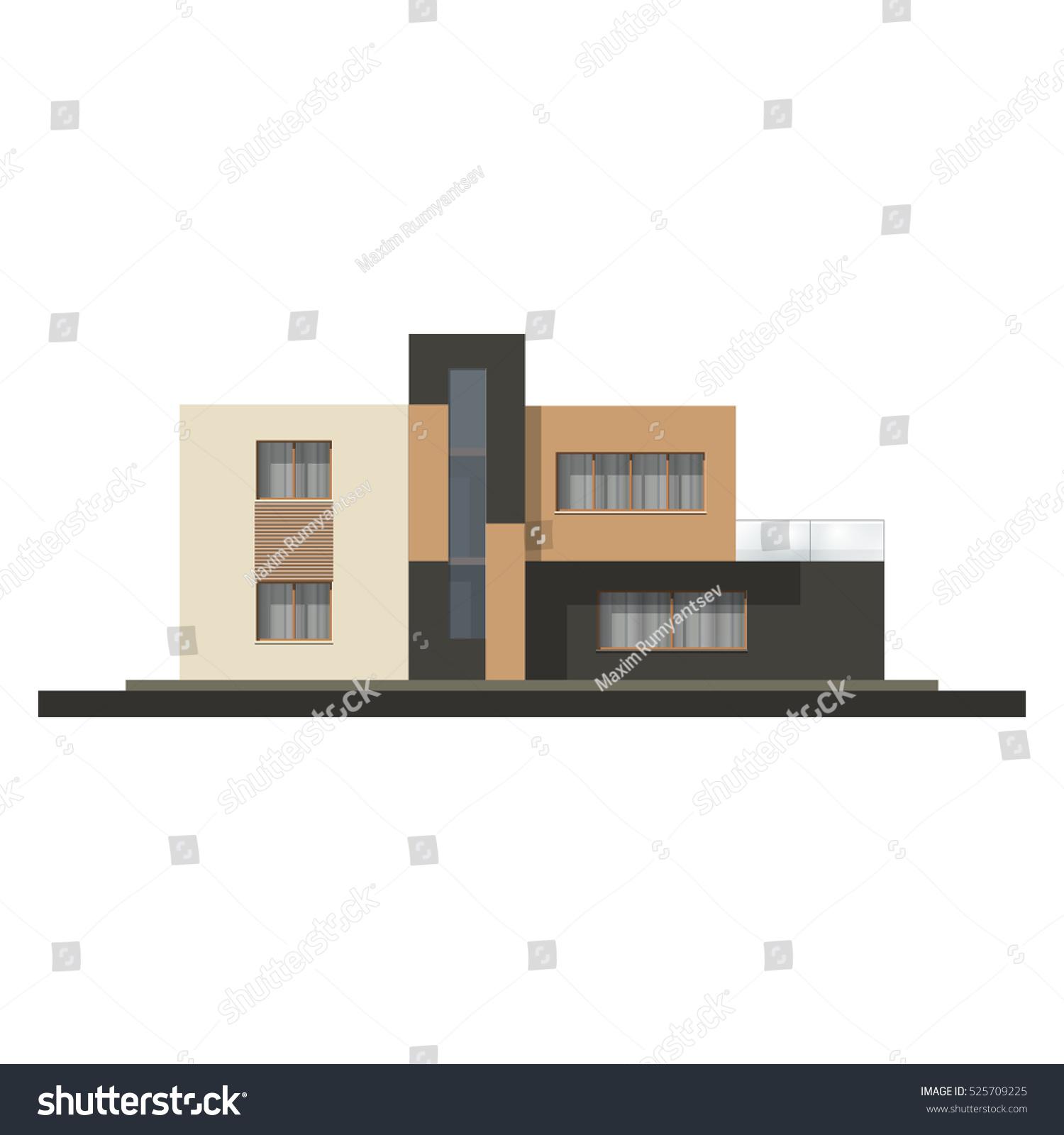 Vector hi tech house facade house stock vector 525709225 for Minimalist house facade