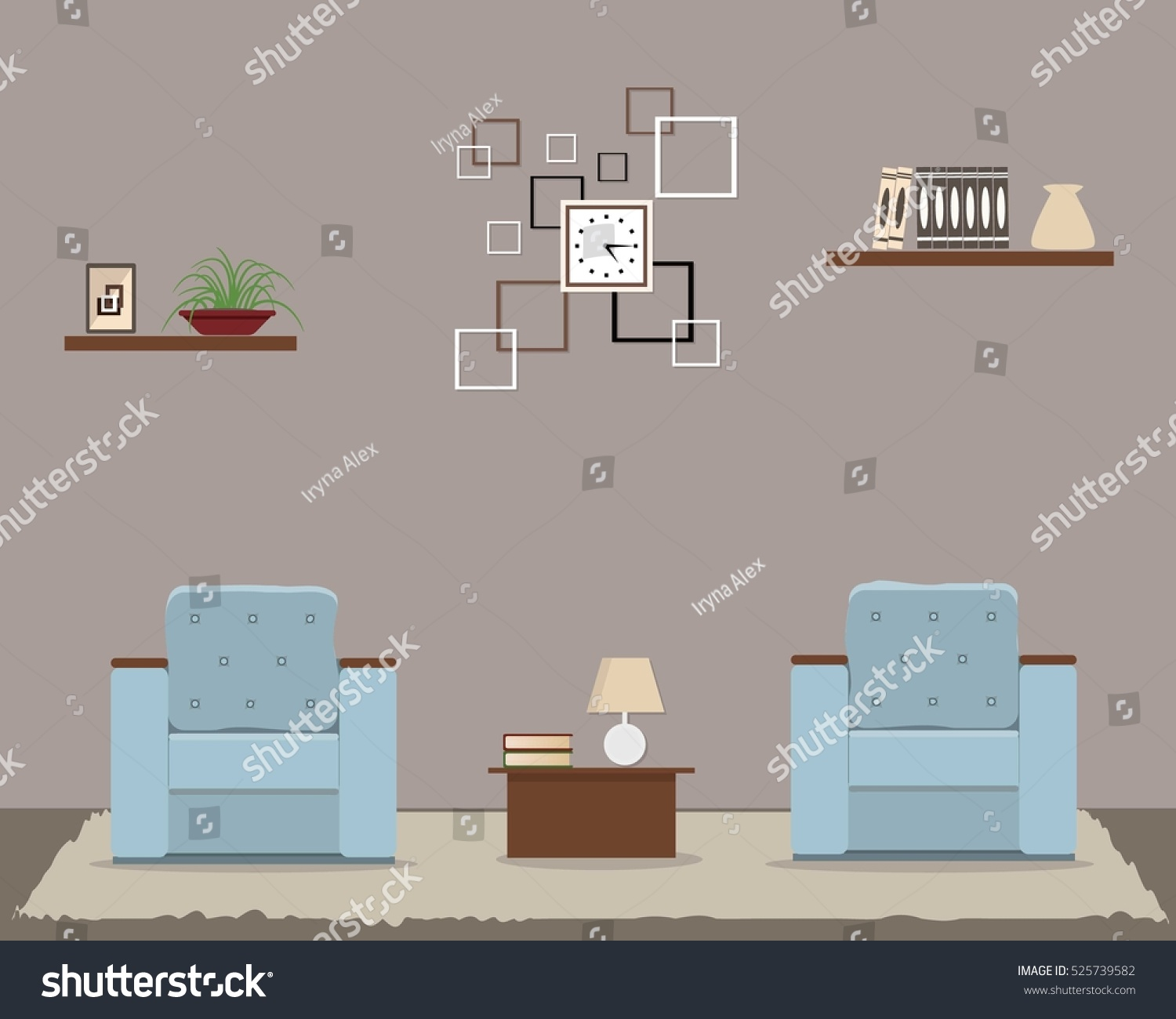Living Room In Cocoa Color There Is A Two Blue Armchairs Square Clock