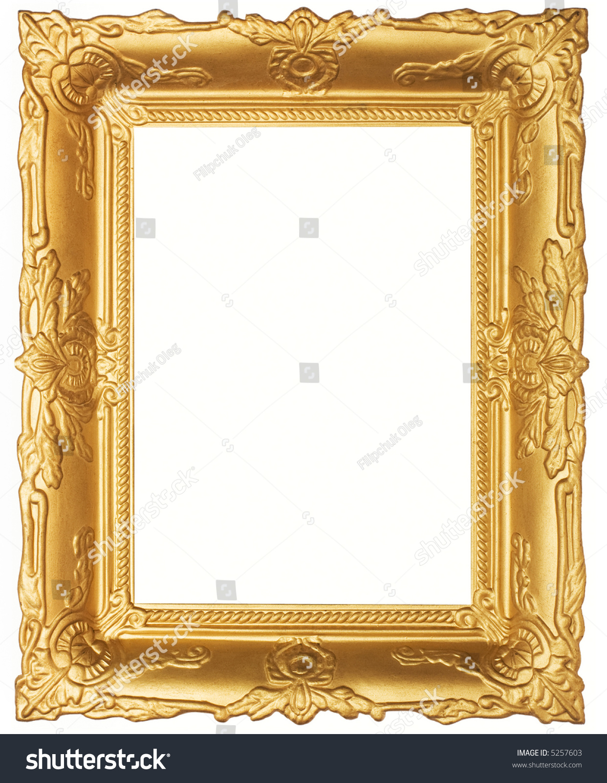 Old beautiful ornated golden antique frame. Isolated on white
