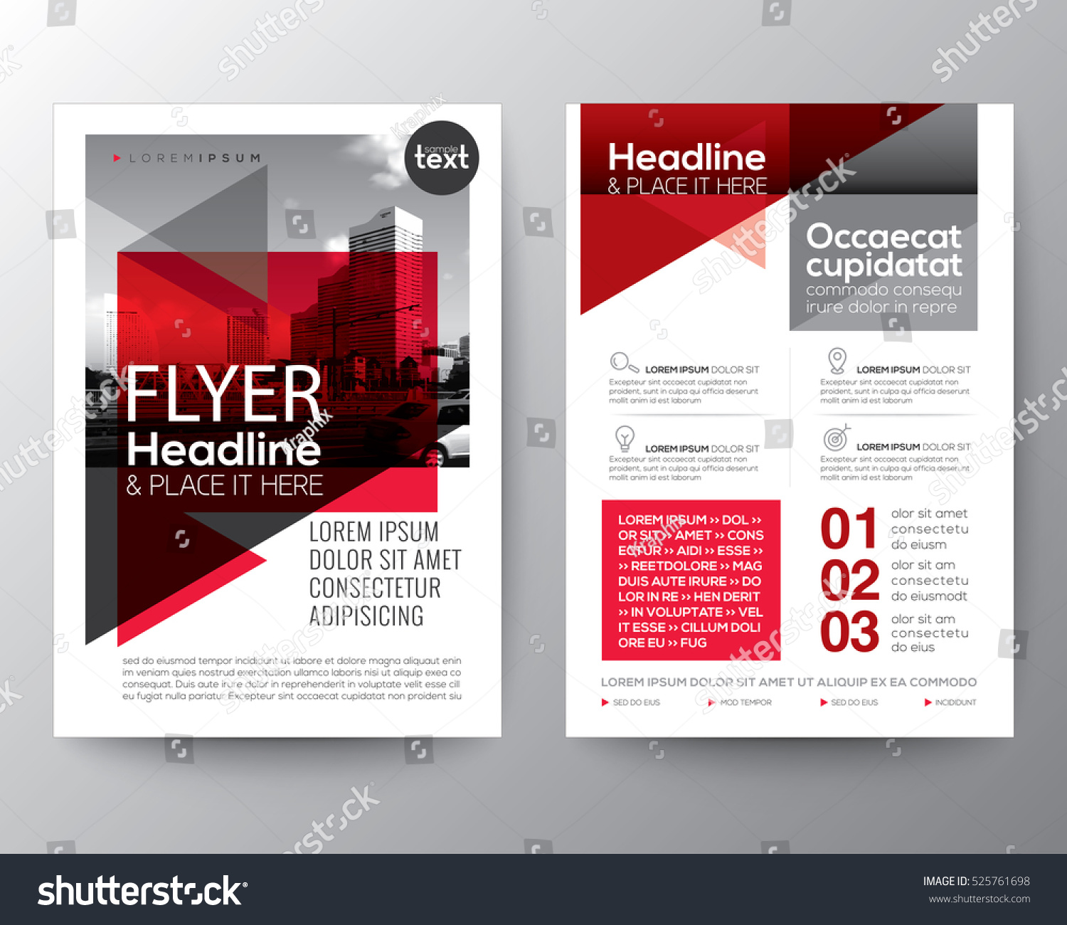 Abstract red geometric background poster brochure stock for Red brochure template