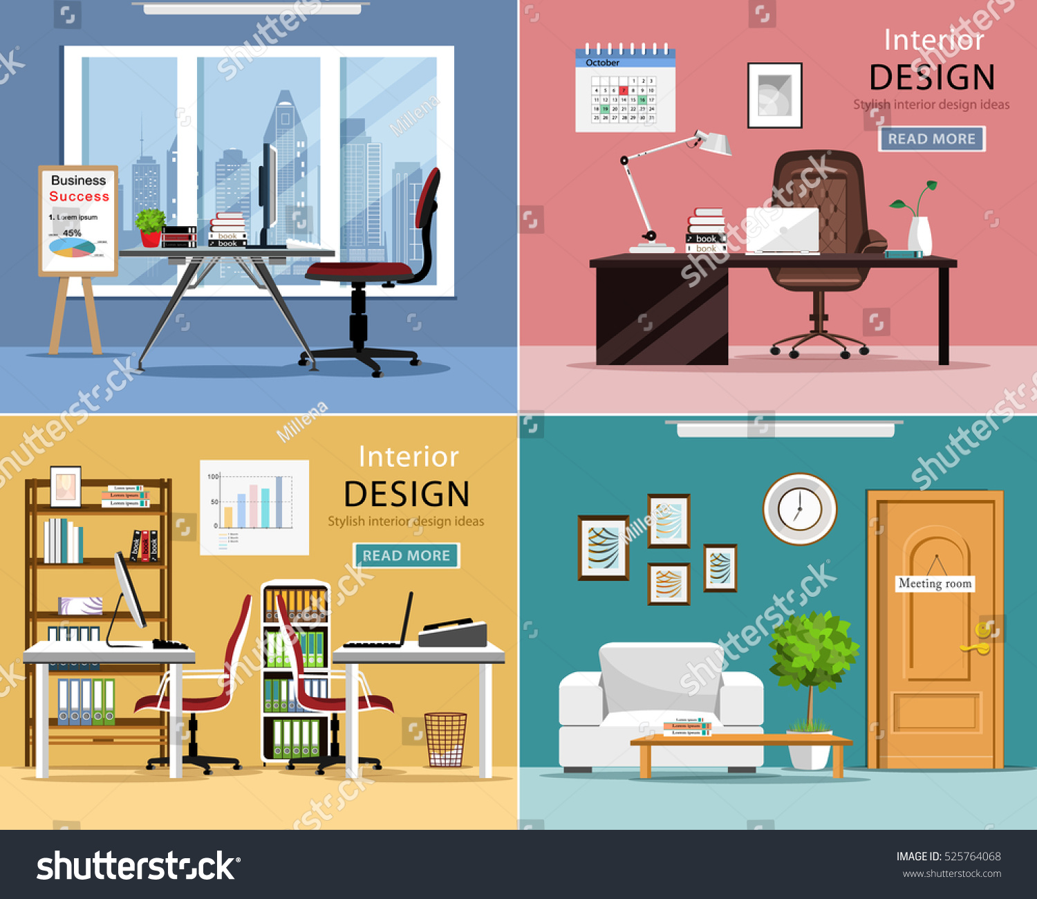 office rooms. Office Rooms Set. Detailed Graphic Room Interiors With Furniture: Tables, Chairs,