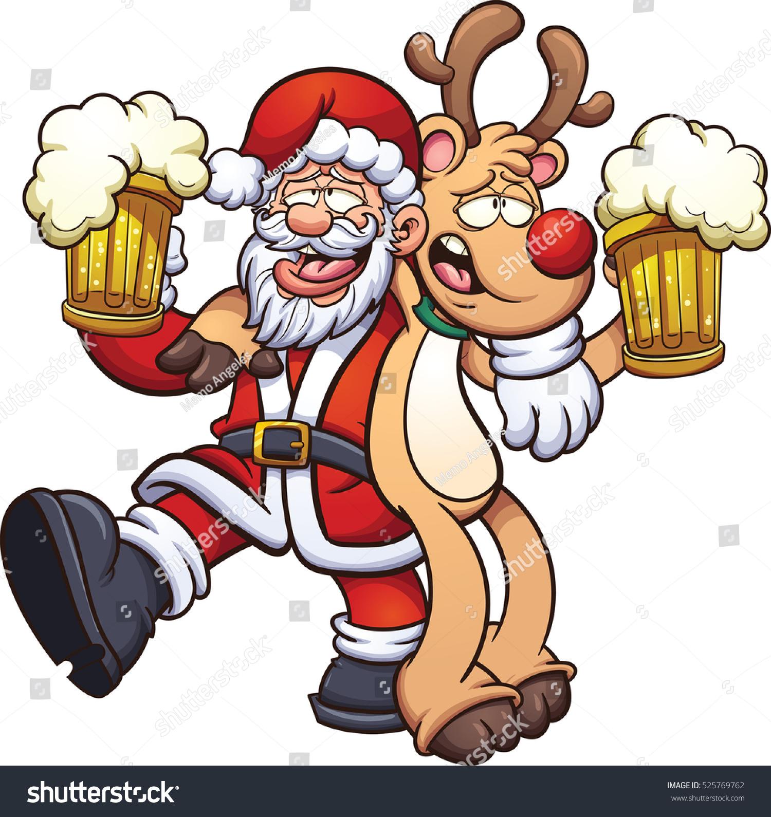 drunk santa claus reindeer vector clip stock vector. Black Bedroom Furniture Sets. Home Design Ideas