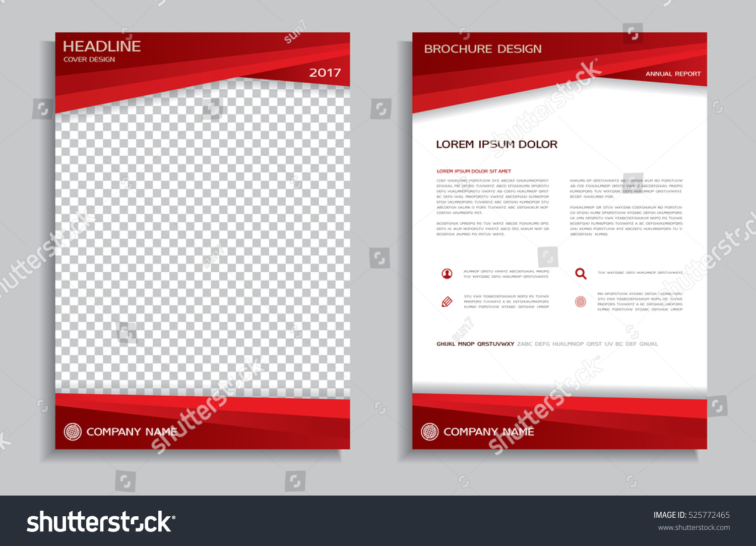 Red flyer design template brochure annual stock vector for Booklet brochure template