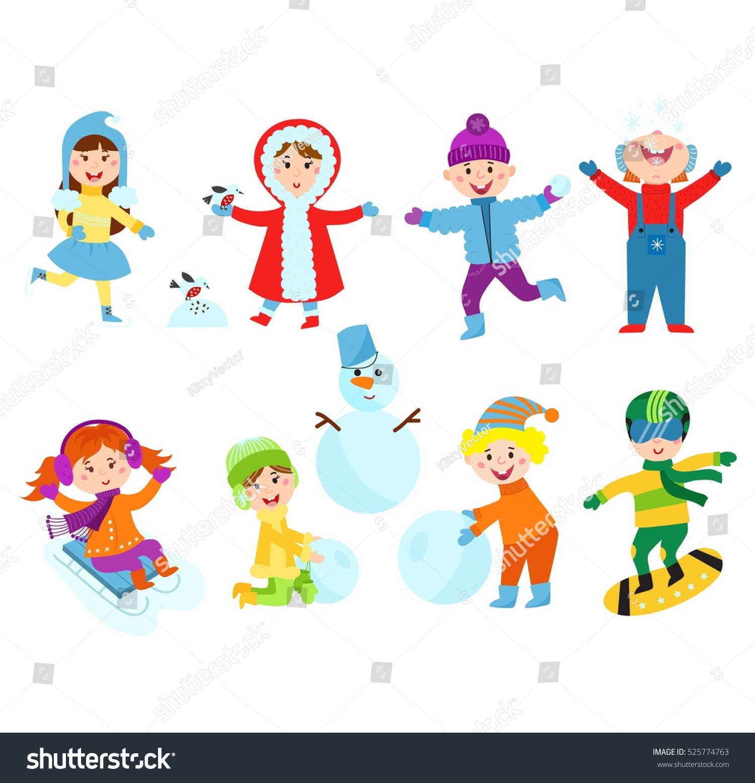 Christmas Kids Playing Winter Games Stock Vector (Royalty Free ...