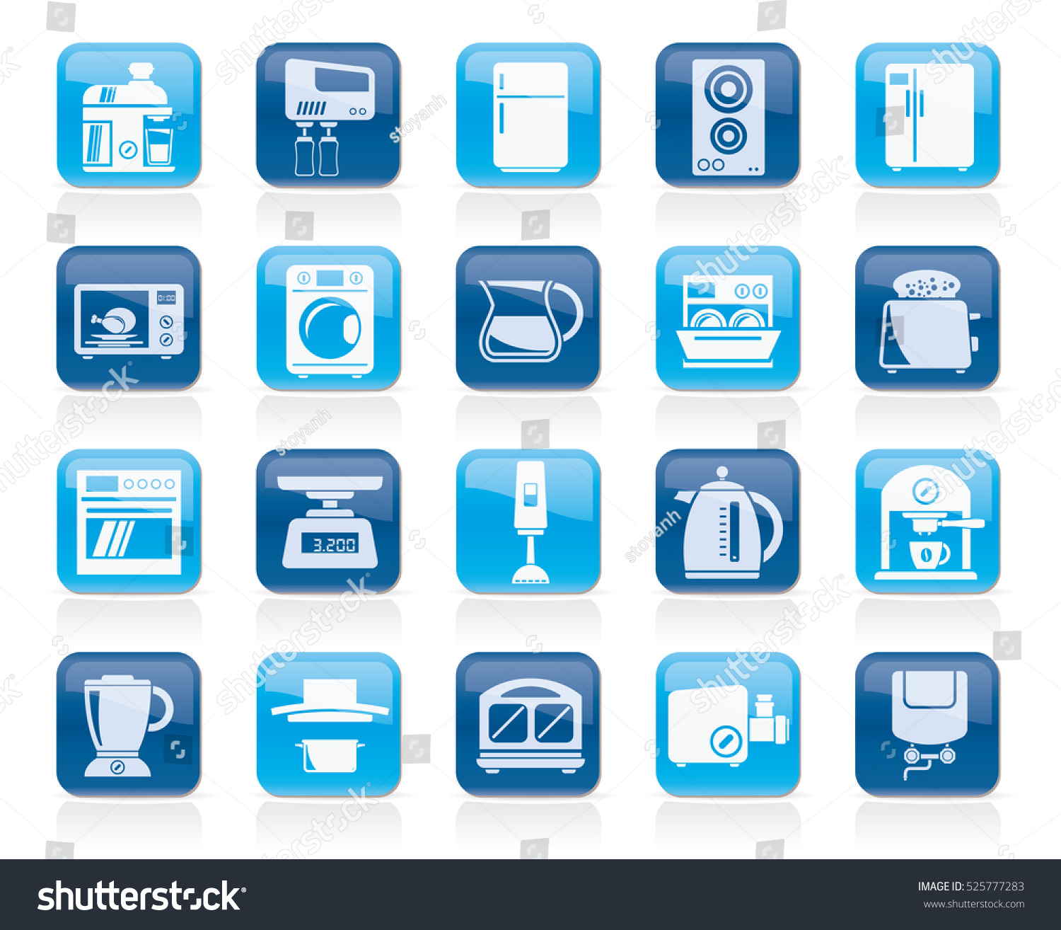 kitchen appliances kitchenware icons vector icon stock vector