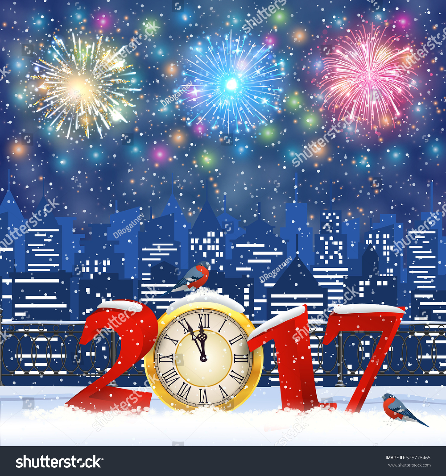 Happy New Year Merry Christmas Winter Stock Vector (Royalty Free ...