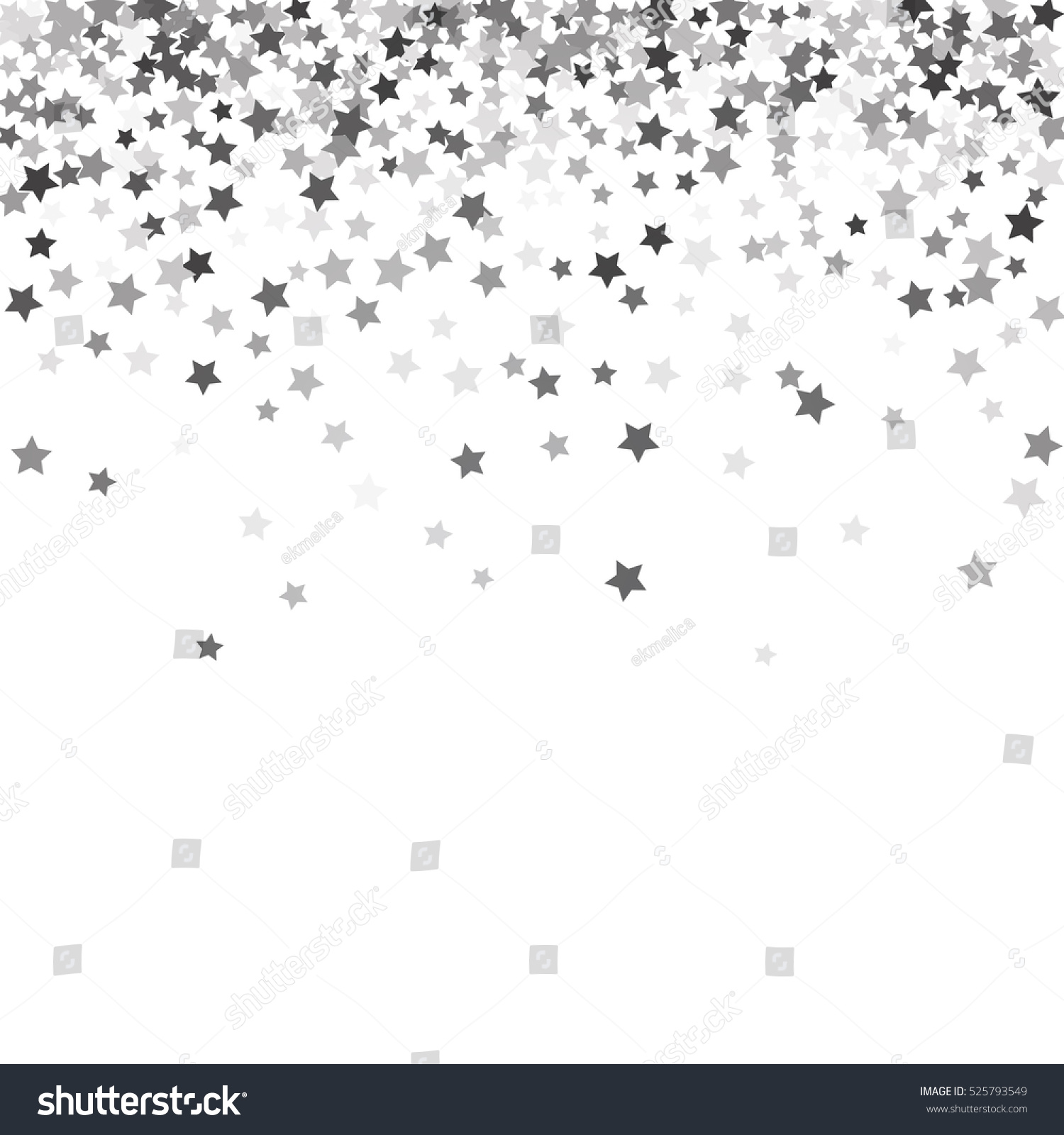 Abstract Pattern Random Falling Silver Stars Stock ...