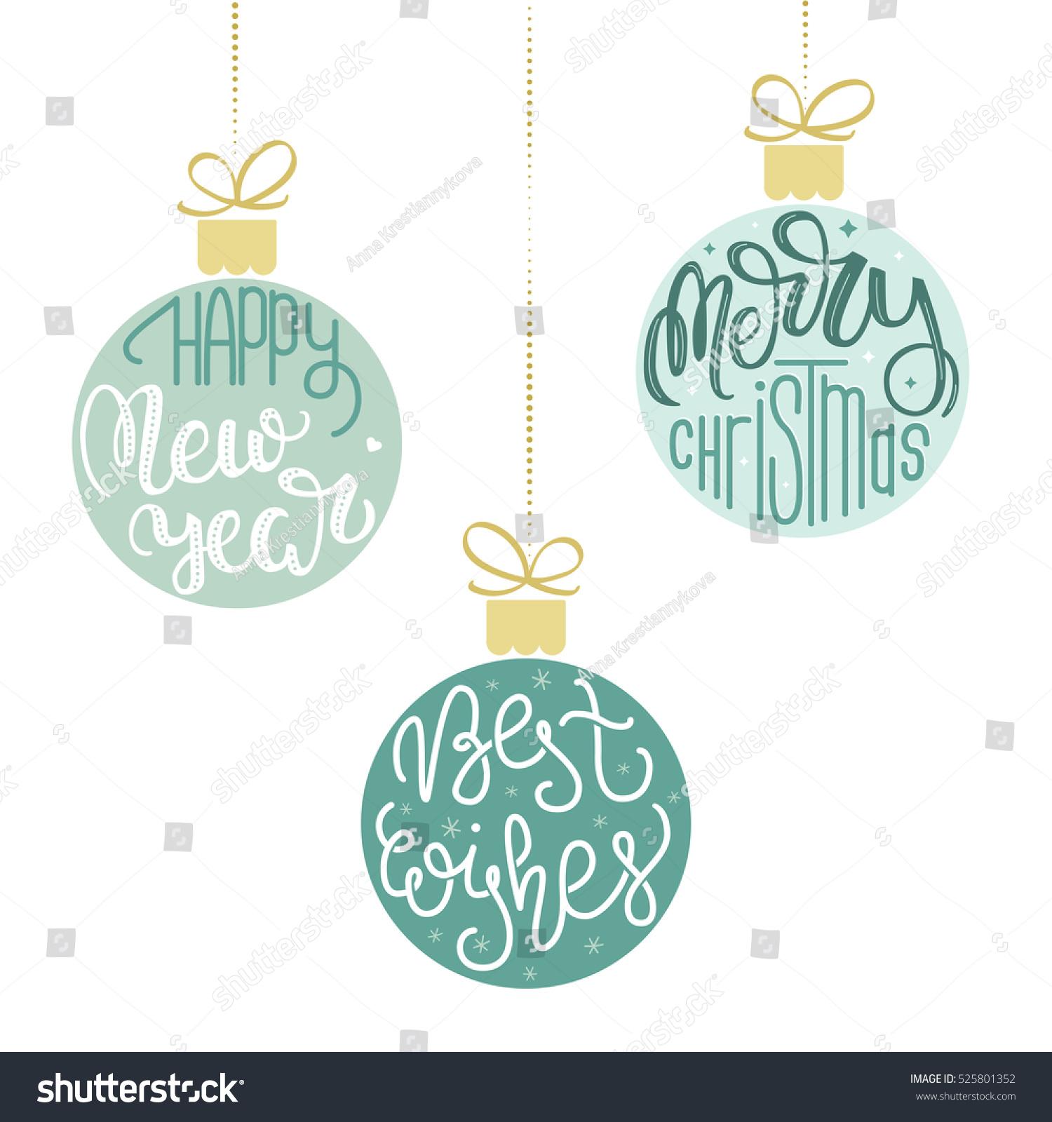 Set Three Hanging Christmas Ornaments Vector Stock Vector (Royalty ...