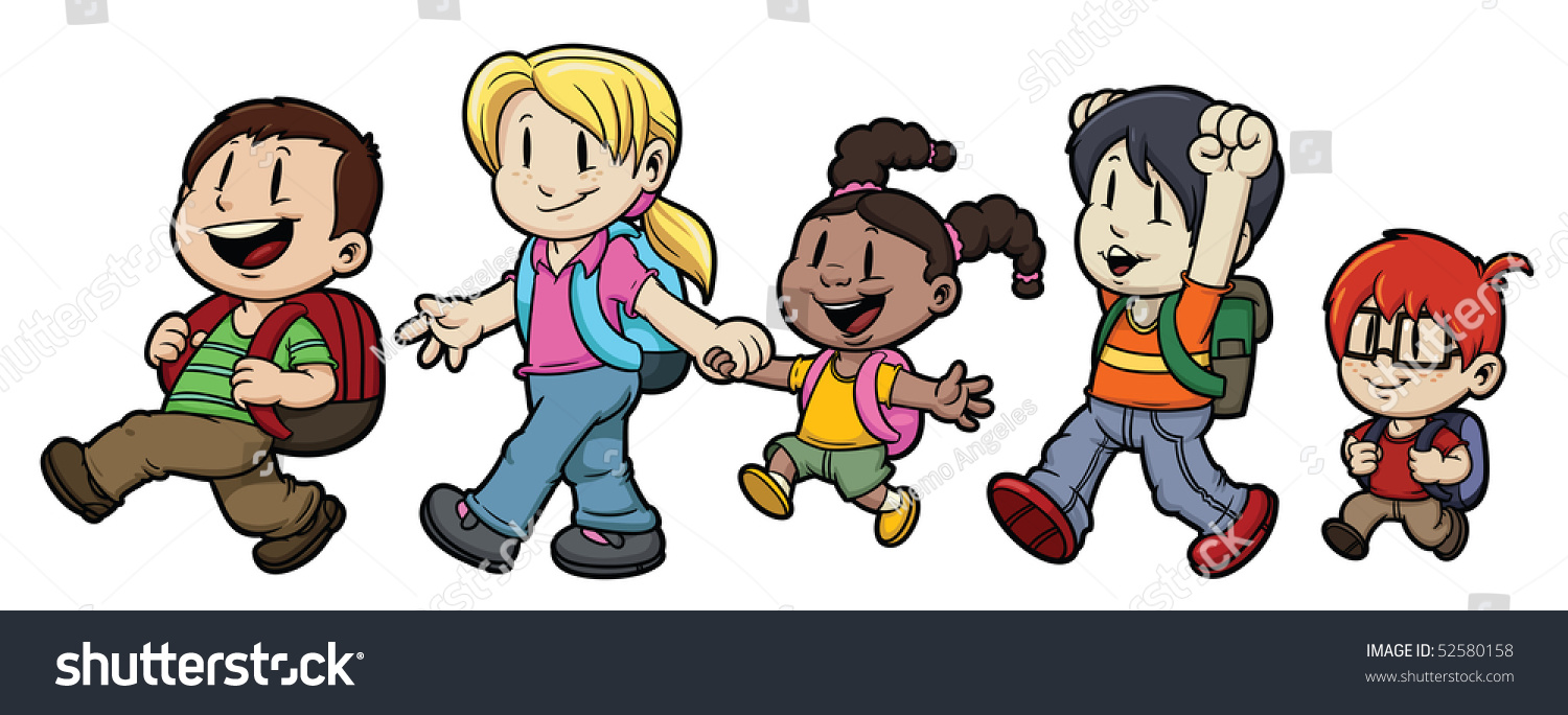 Cartoon 5 Characters : Five cute cartoon kids walking school stock vector