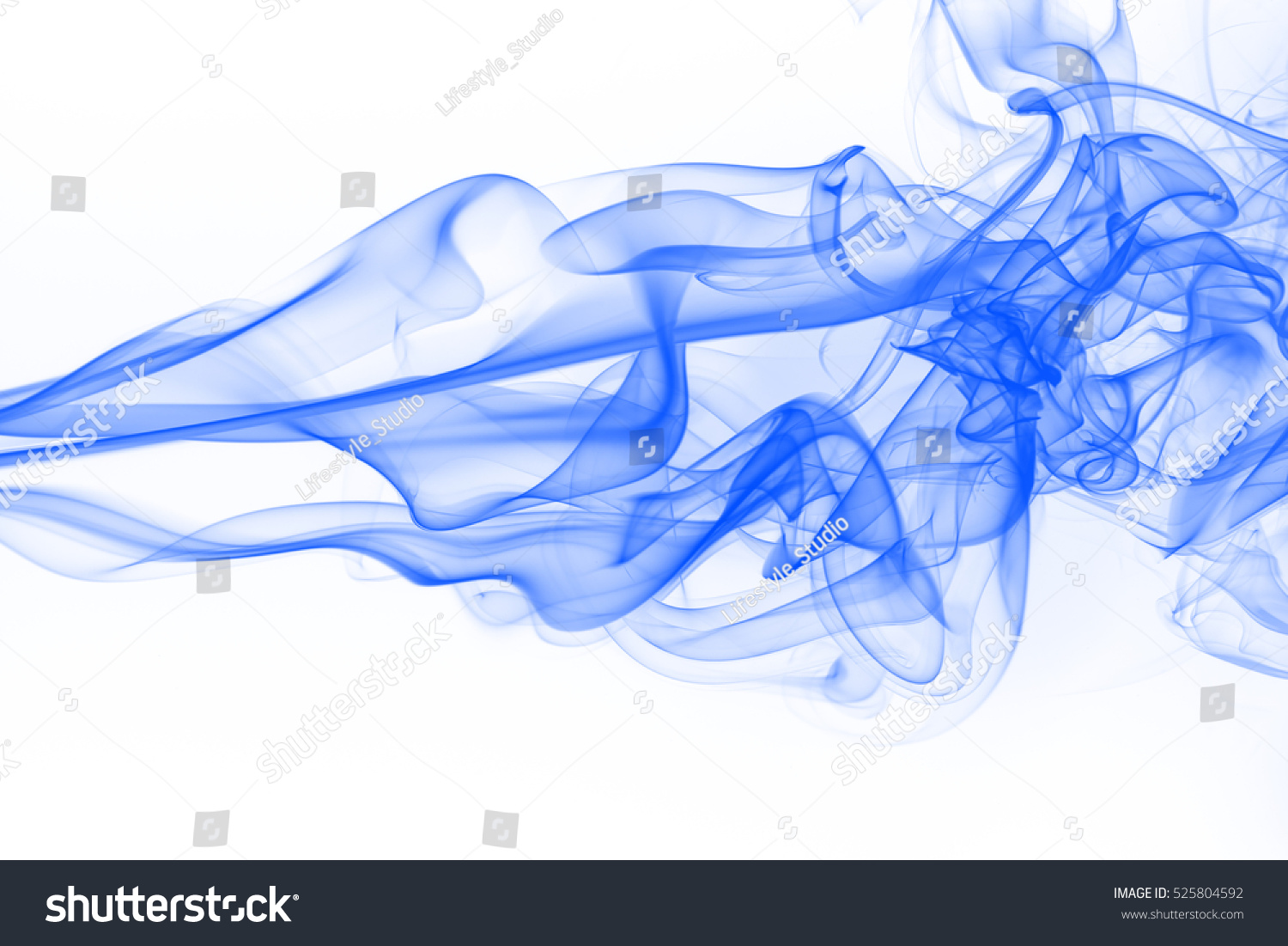blue smoke abstract on white background stock photo