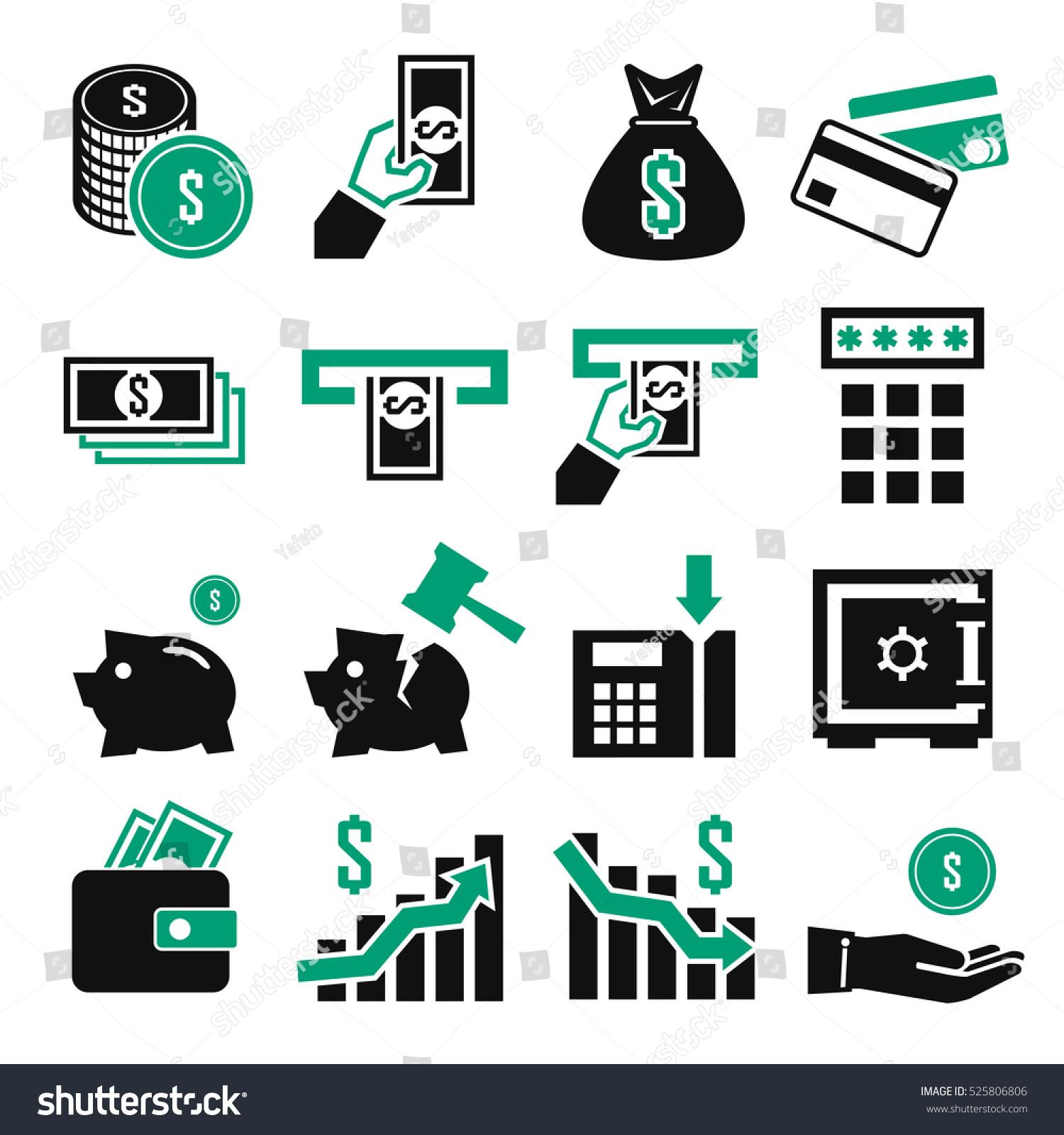 Finance Icon Set: Money And Finance Icon Set Stock Vector 525806806