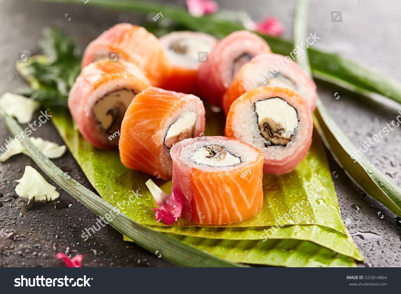 3 Fish Maki Sushi Roll Made Stock Photo 525814864