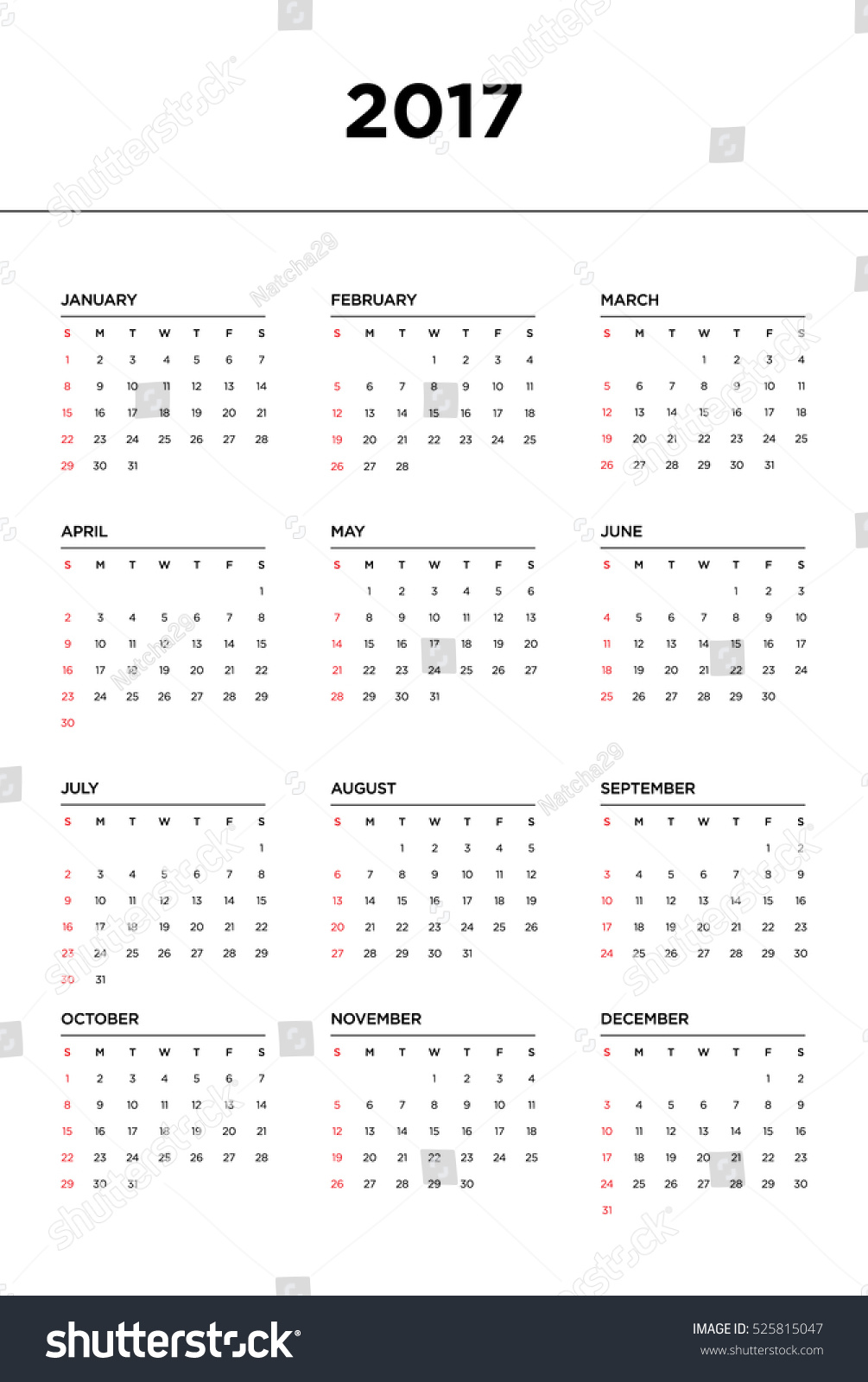 Year Calendar Starting : Calendar year start week sunday stock vector